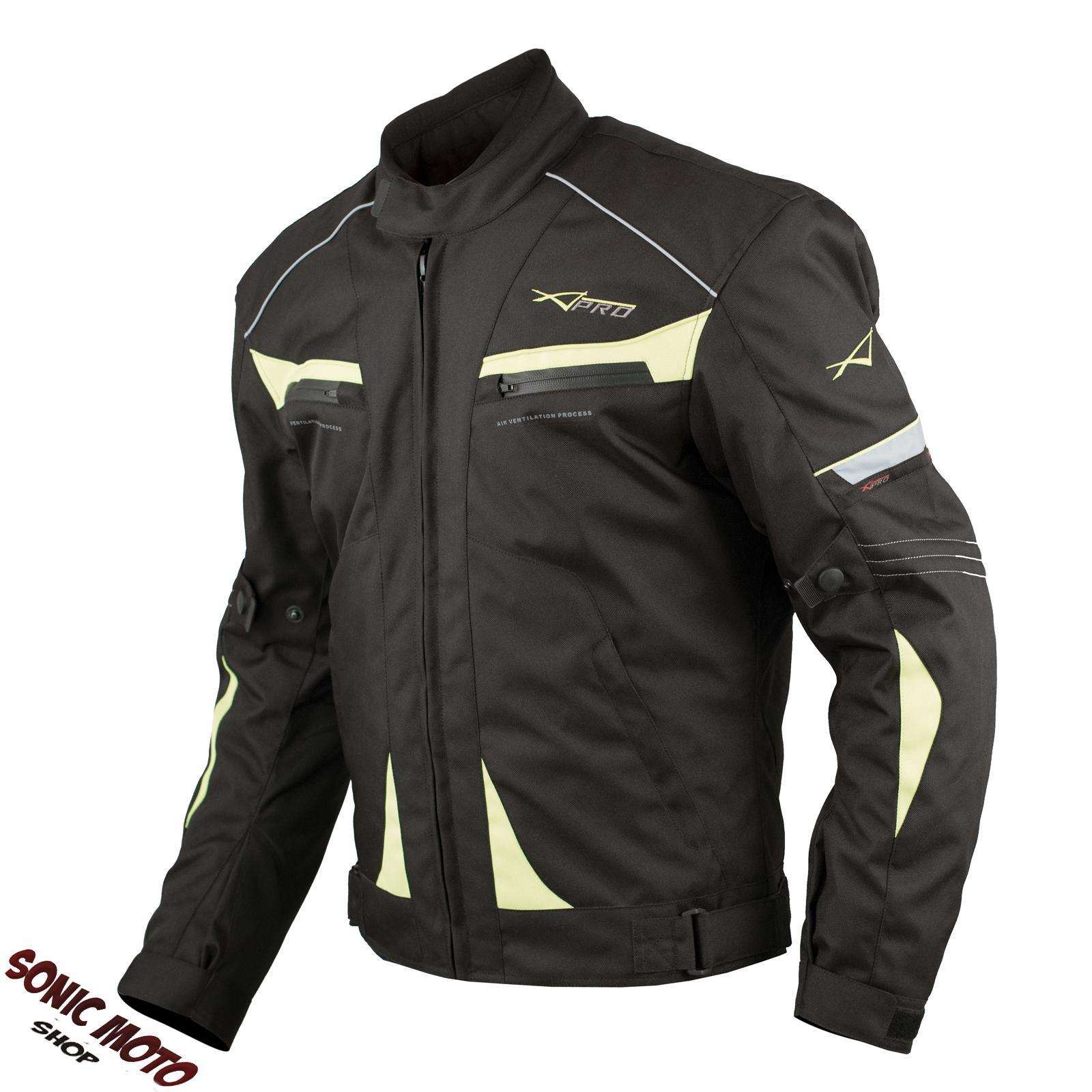 Giacca-Moto-Sport-Tessuto-Protezioni-CE-Impermeabile-Ventilata-Fluo