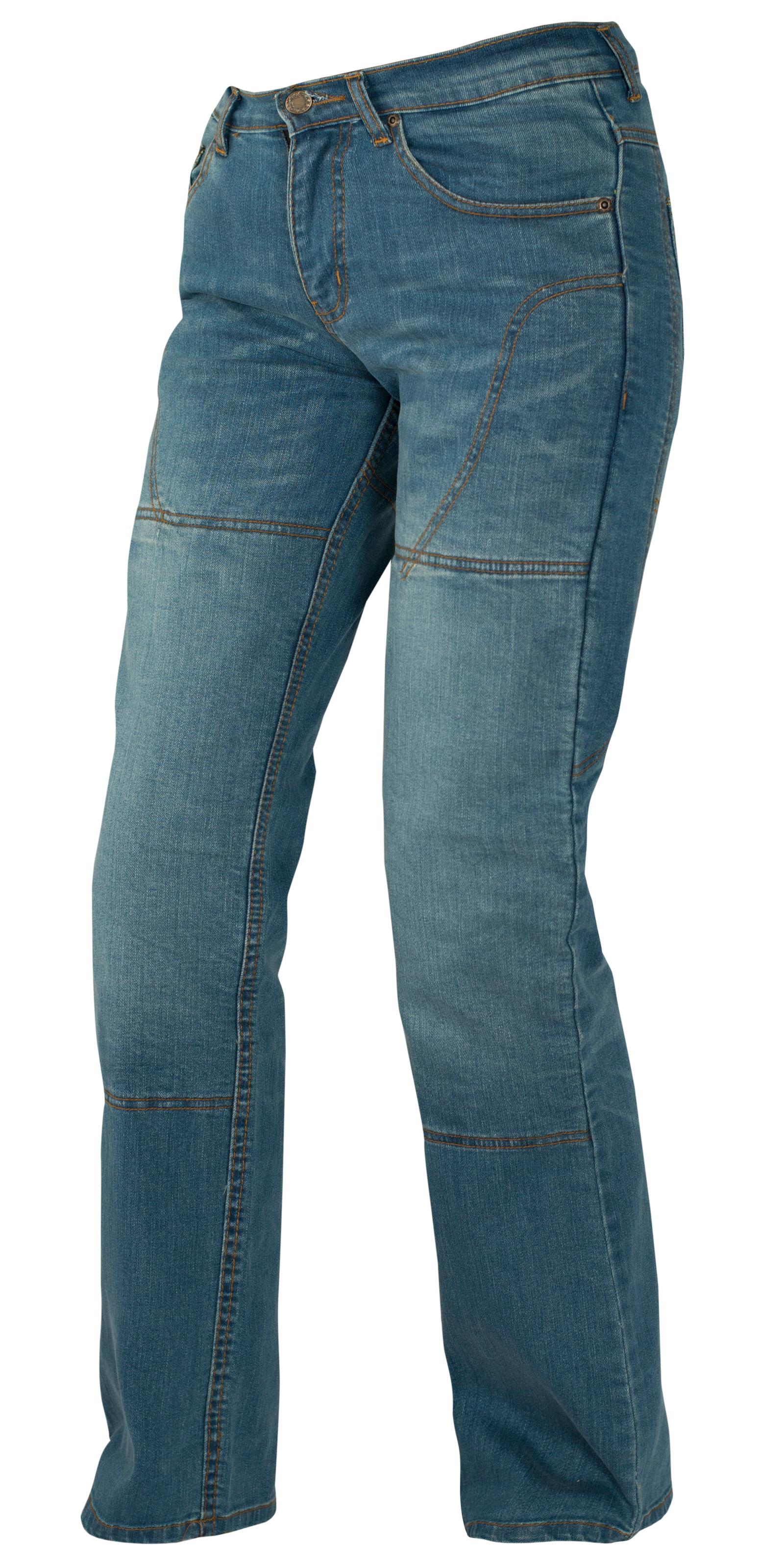 Pantalon-Femme-Jeans-Moto-Protections-Homologees-Renforts-Bleu miniature 6