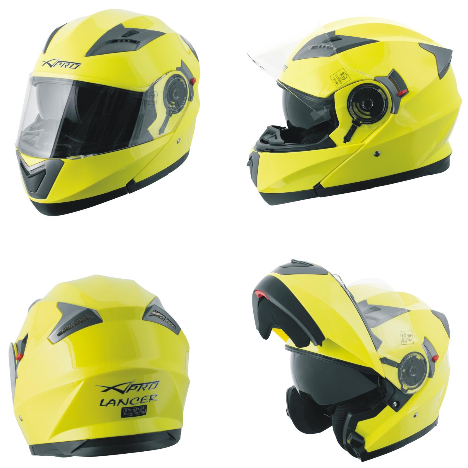 Casco-Modulare-Apribile-Moto-Touring-Sport-Visiera-Parasole-Giallo-Fluo