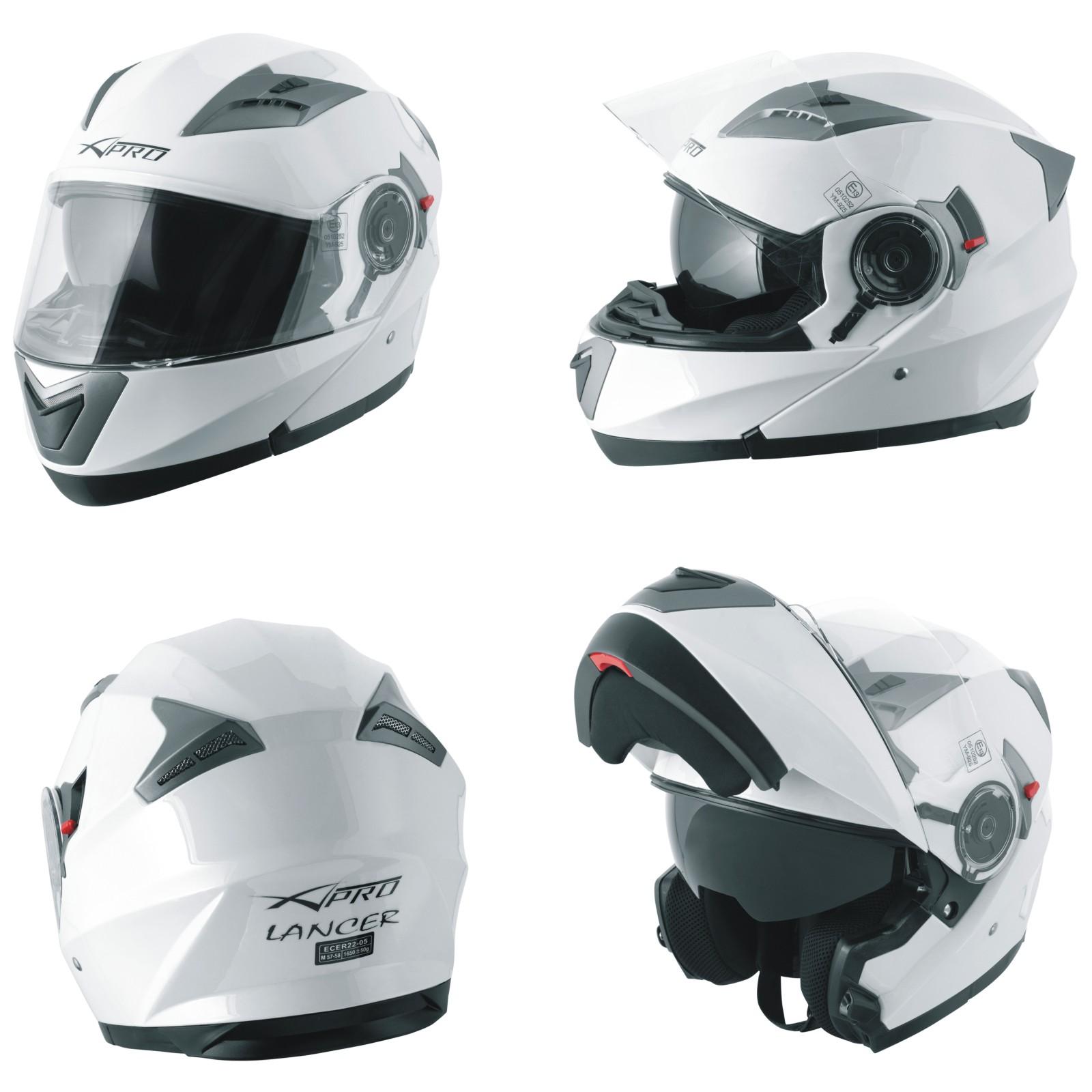 Casco-Modulare-Apribile-Moto-Touring-Sport-Visiera-Parasole-Bianco