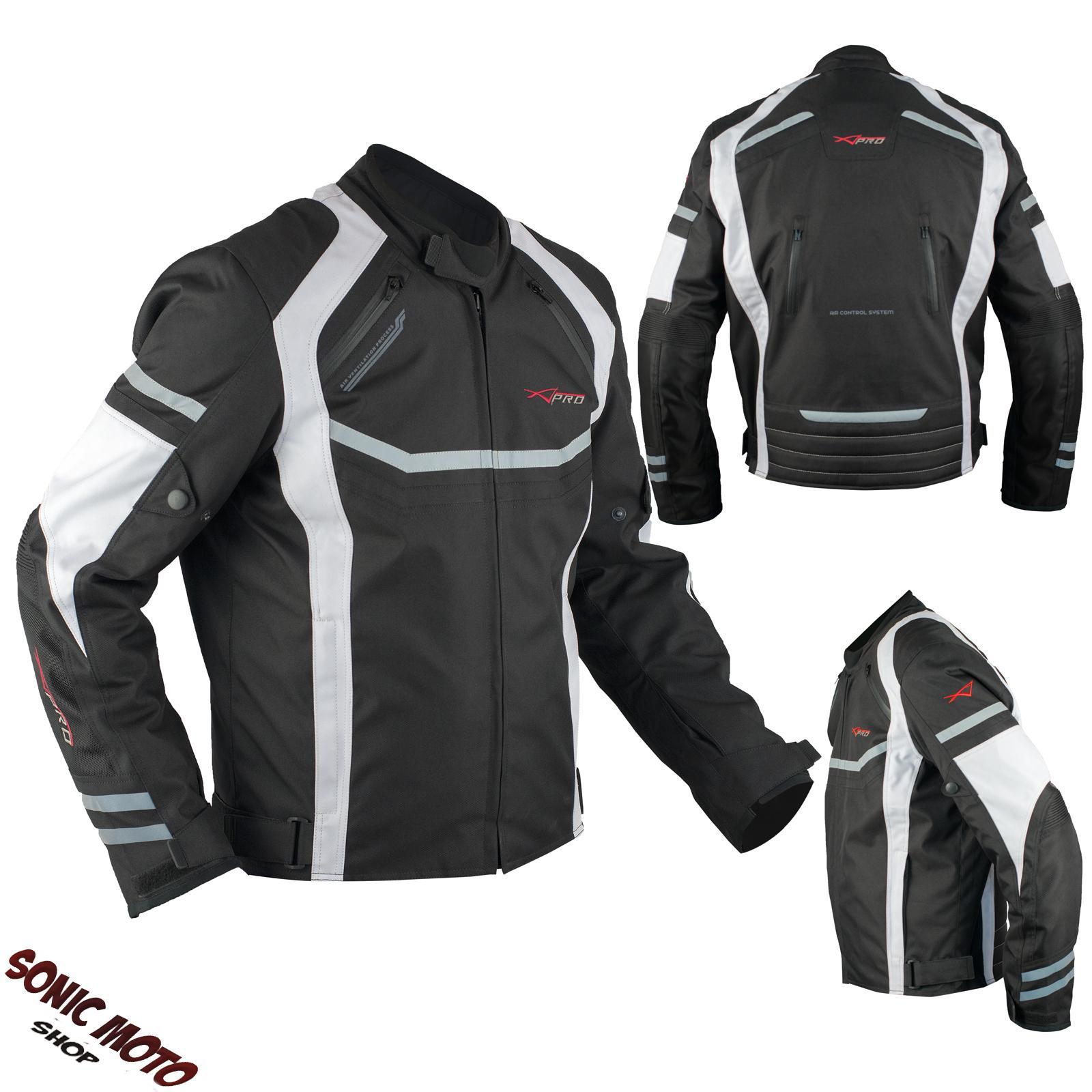 Giacca-Moto-Sportiva-Tessuto-Ventilata-Riflettente-Protezioni-CE-Traspirante