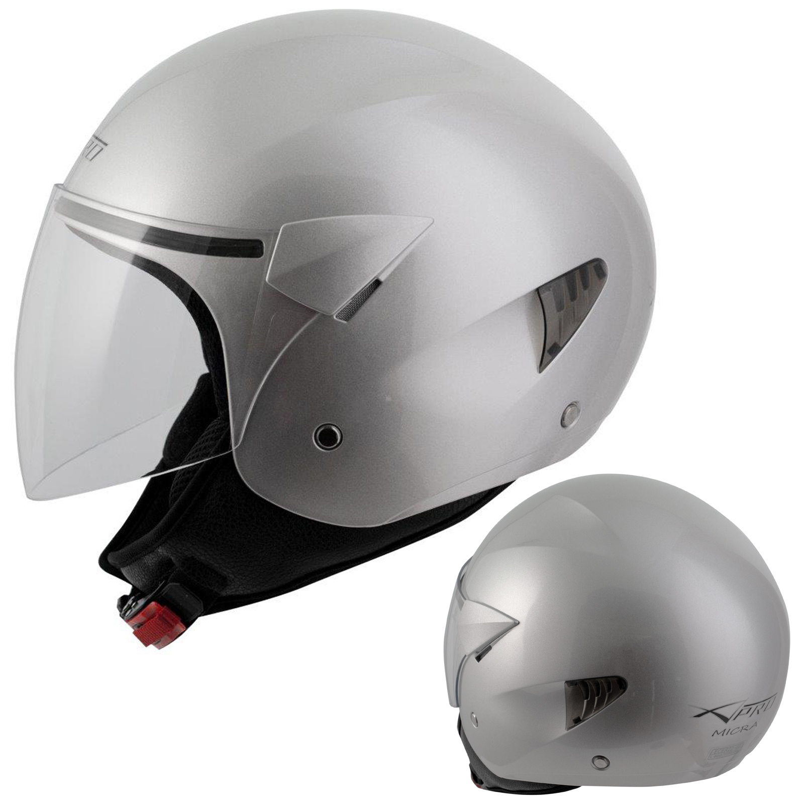 Casque-Moto-Scooter-Ville-Jet-Visiere-Longue-Approuve-ECE-22-05-Argent