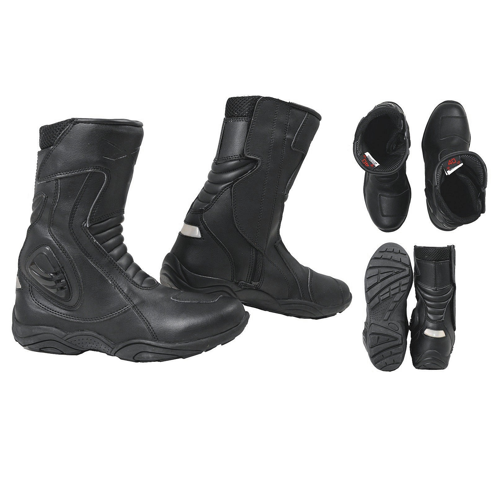 bottes imperm able cuir vachette renforts moto motard chaussures stretch unisexe ebay. Black Bedroom Furniture Sets. Home Design Ideas