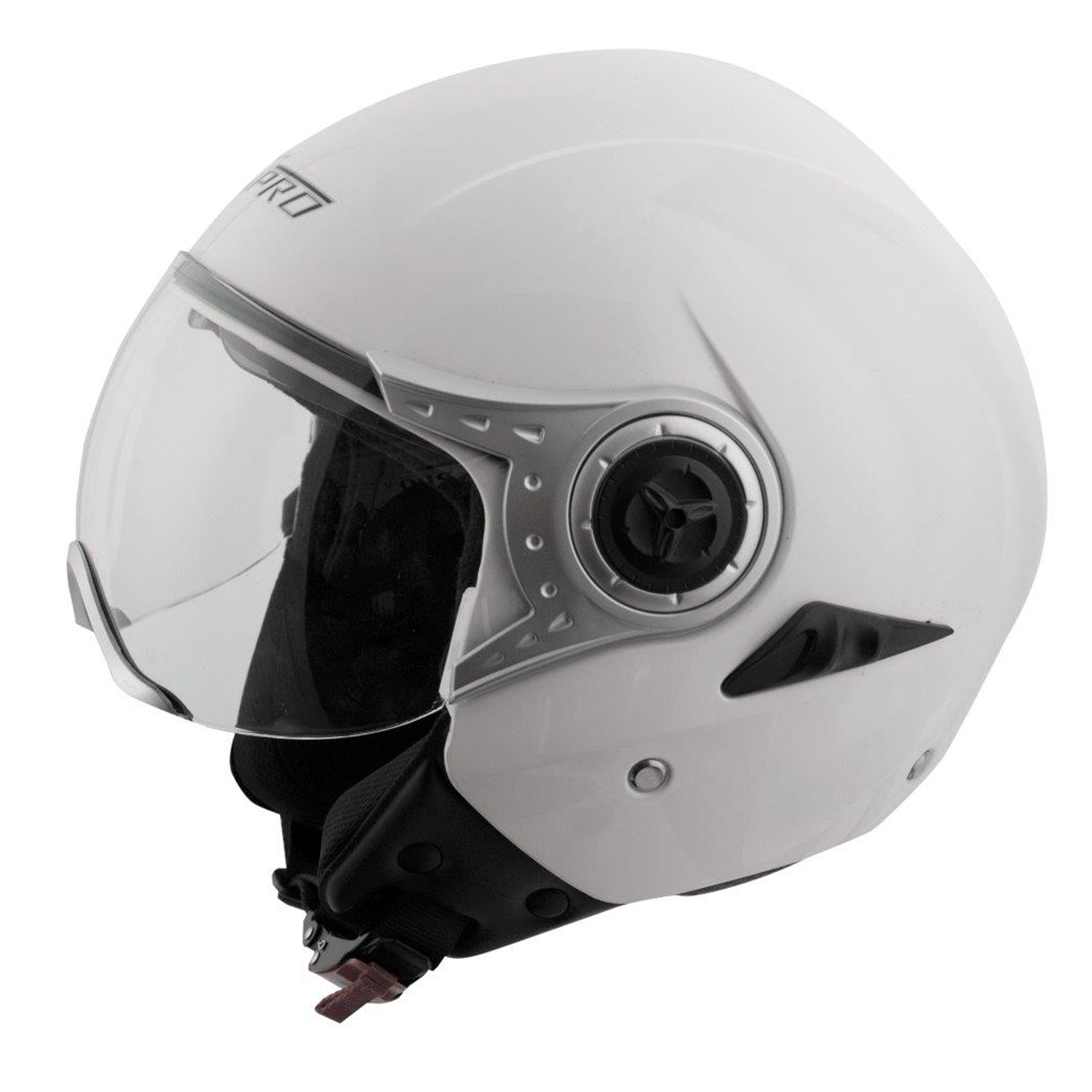 demi jet casque homologu moto scooter visi re pare soleil blanc ebay. Black Bedroom Furniture Sets. Home Design Ideas