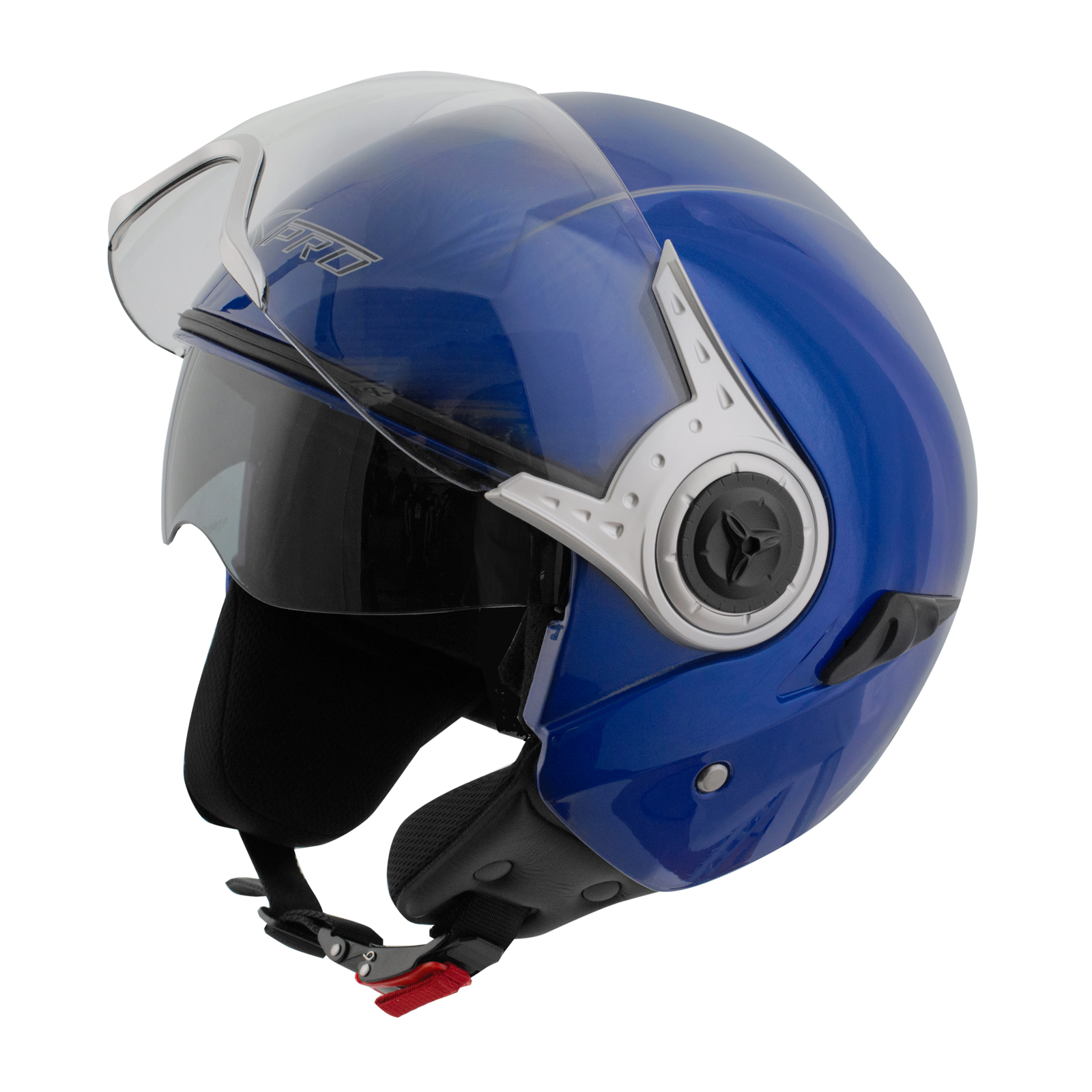 Demi-Jet-Casque-Homologue-Moto-Scooter-Visiere-Pare-Soleil-Blue