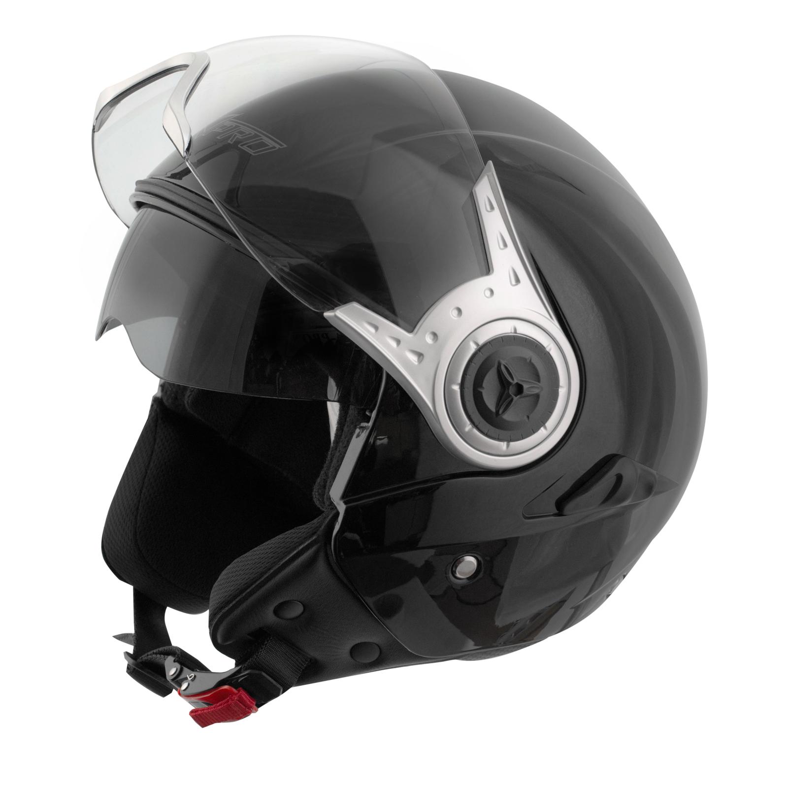 demi jet casque homologu moto scooter visi re pare soleil noir ebay. Black Bedroom Furniture Sets. Home Design Ideas