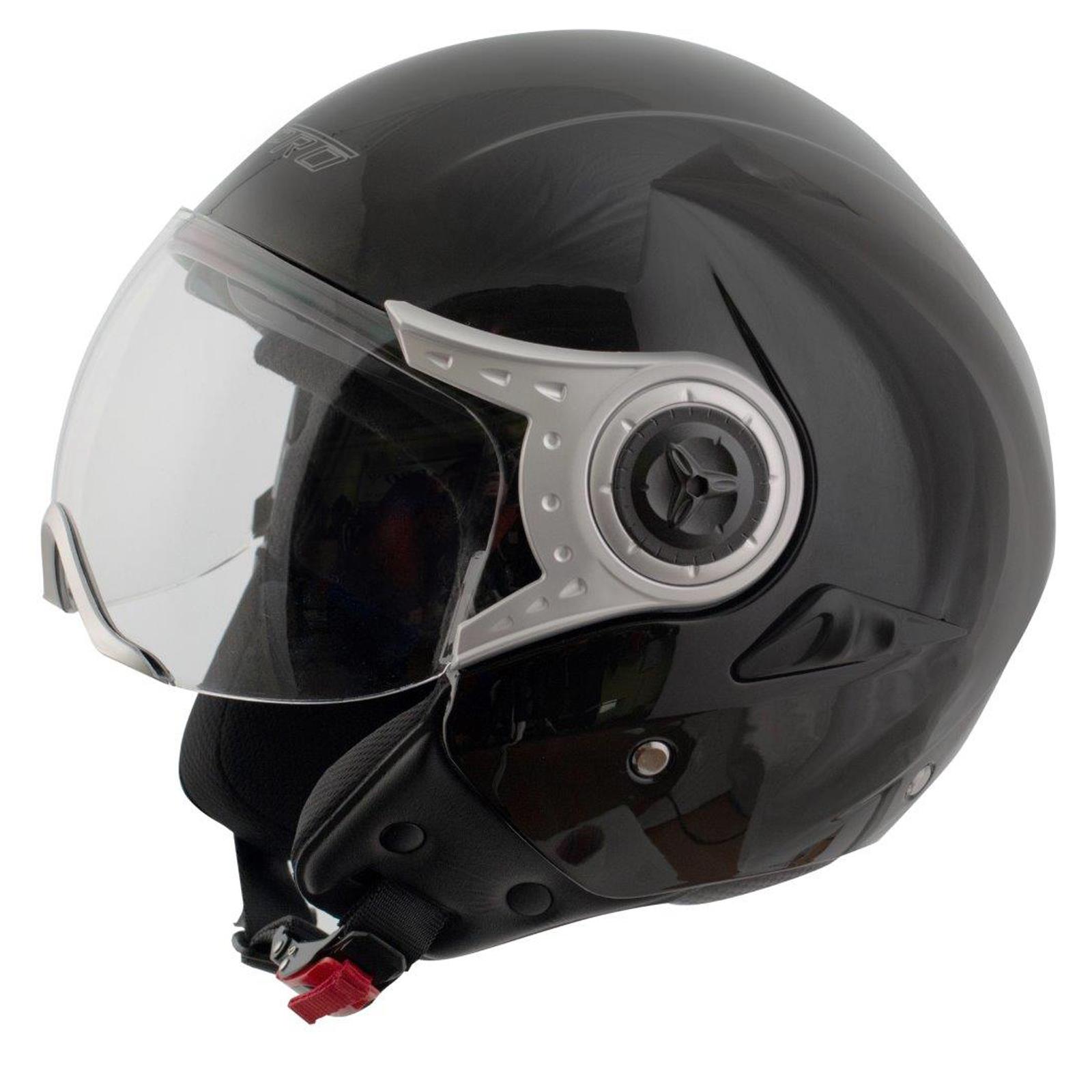 Demi-Jet-Casque-Homologue-Moto-Scooter-Visiere-Pare-Soleil-Noir