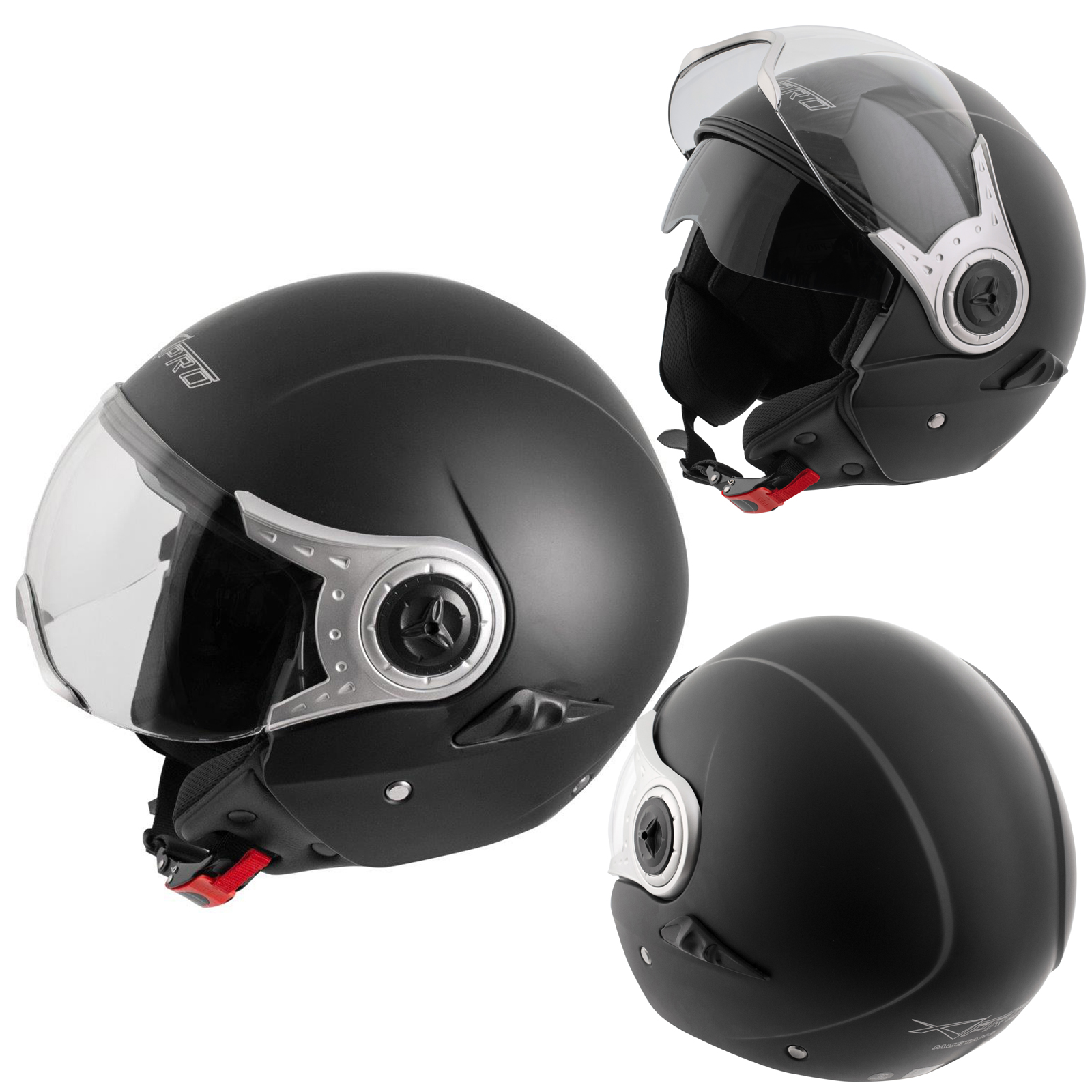 demi jet casque homologu moto scooter visi re pare soleil noir mat ebay. Black Bedroom Furniture Sets. Home Design Ideas