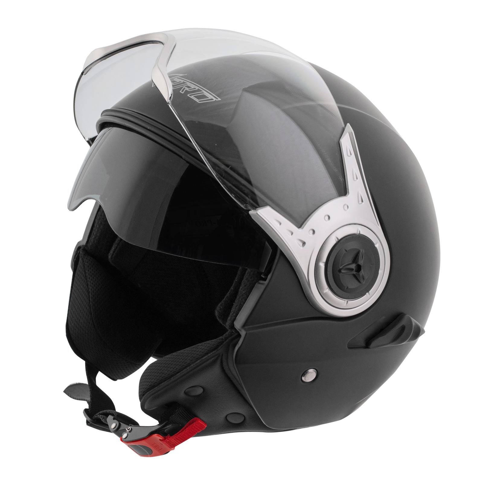Demi-Jet-Casque-Homologue-Moto-Scooter-Visiere-Pare-Soleil-Noir-Mat