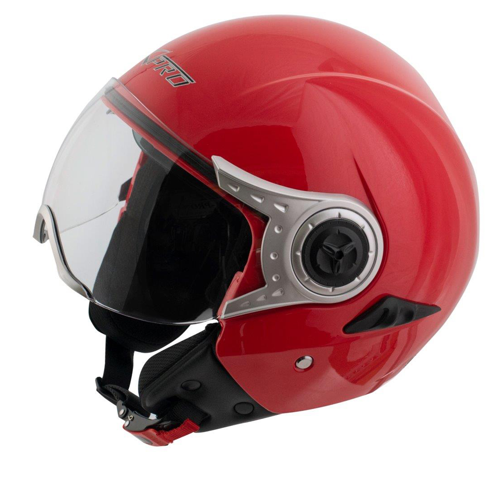 demi jet casque homologu moto scooter visi re pare soleil rouge ebay. Black Bedroom Furniture Sets. Home Design Ideas