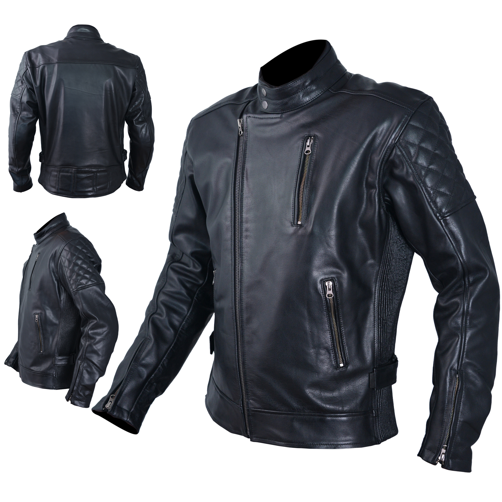 blouson cuir homme moto protections ce veste vintage thermique s ebay. Black Bedroom Furniture Sets. Home Design Ideas
