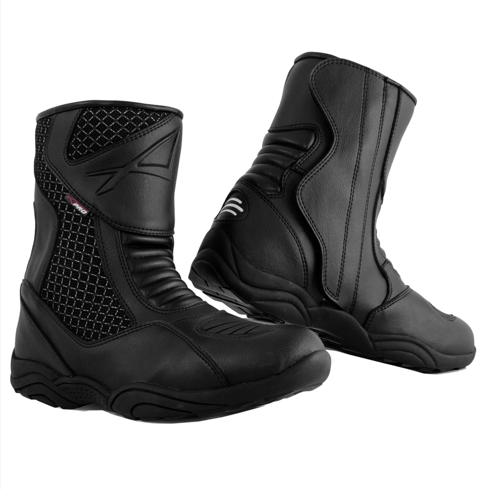 A-pro Bottes Chaussures Moto Scooter City Touring Imperm/éable Cuir Noir 45