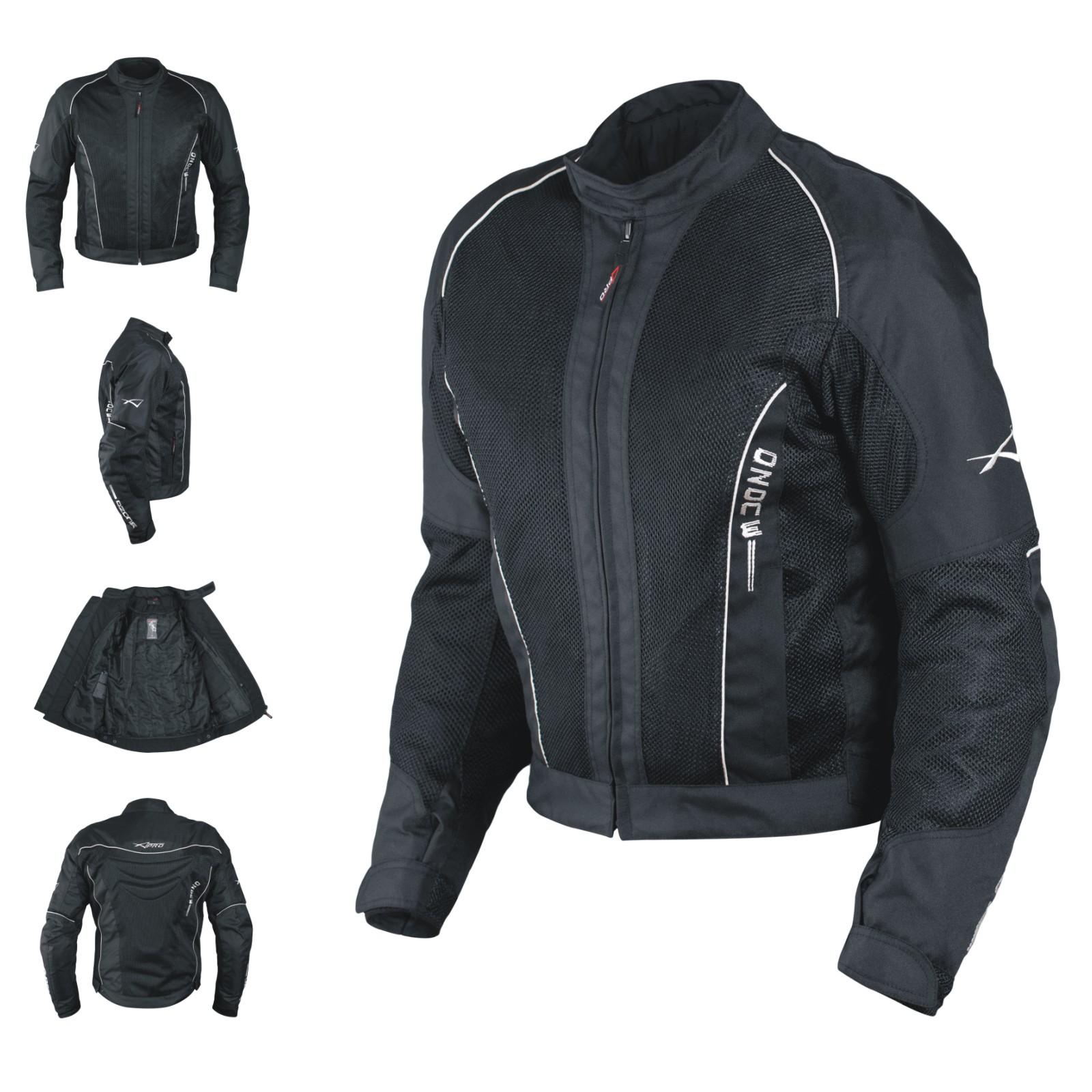 Giacca-Giubbino-Mesh-Traforato-Traspirante-Tessuto-Tecnico-Moto-Sport-Nero