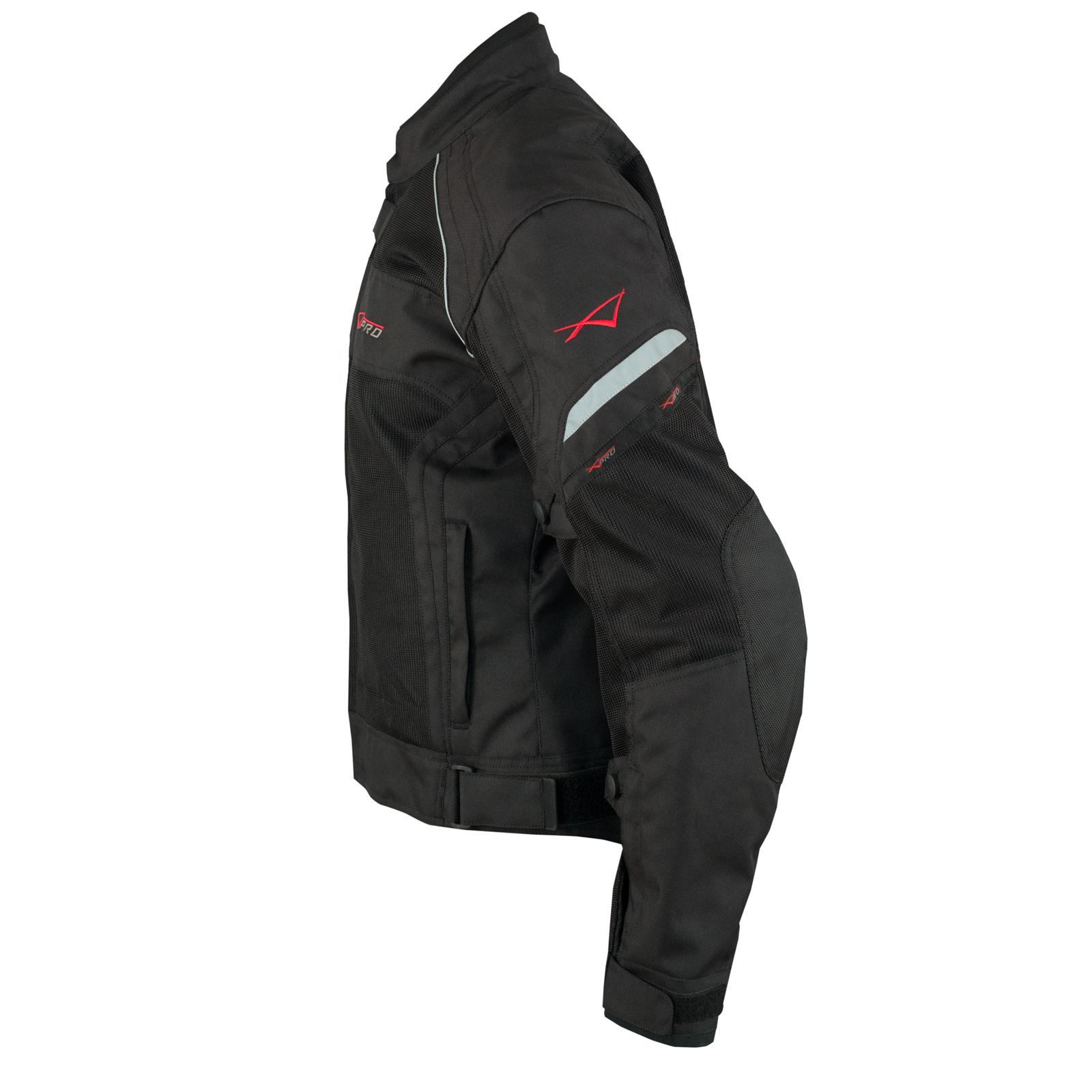 Donna-Giacca-Moto-Tessuto-Impermeabile-Traspirante-Riflettente-Nero