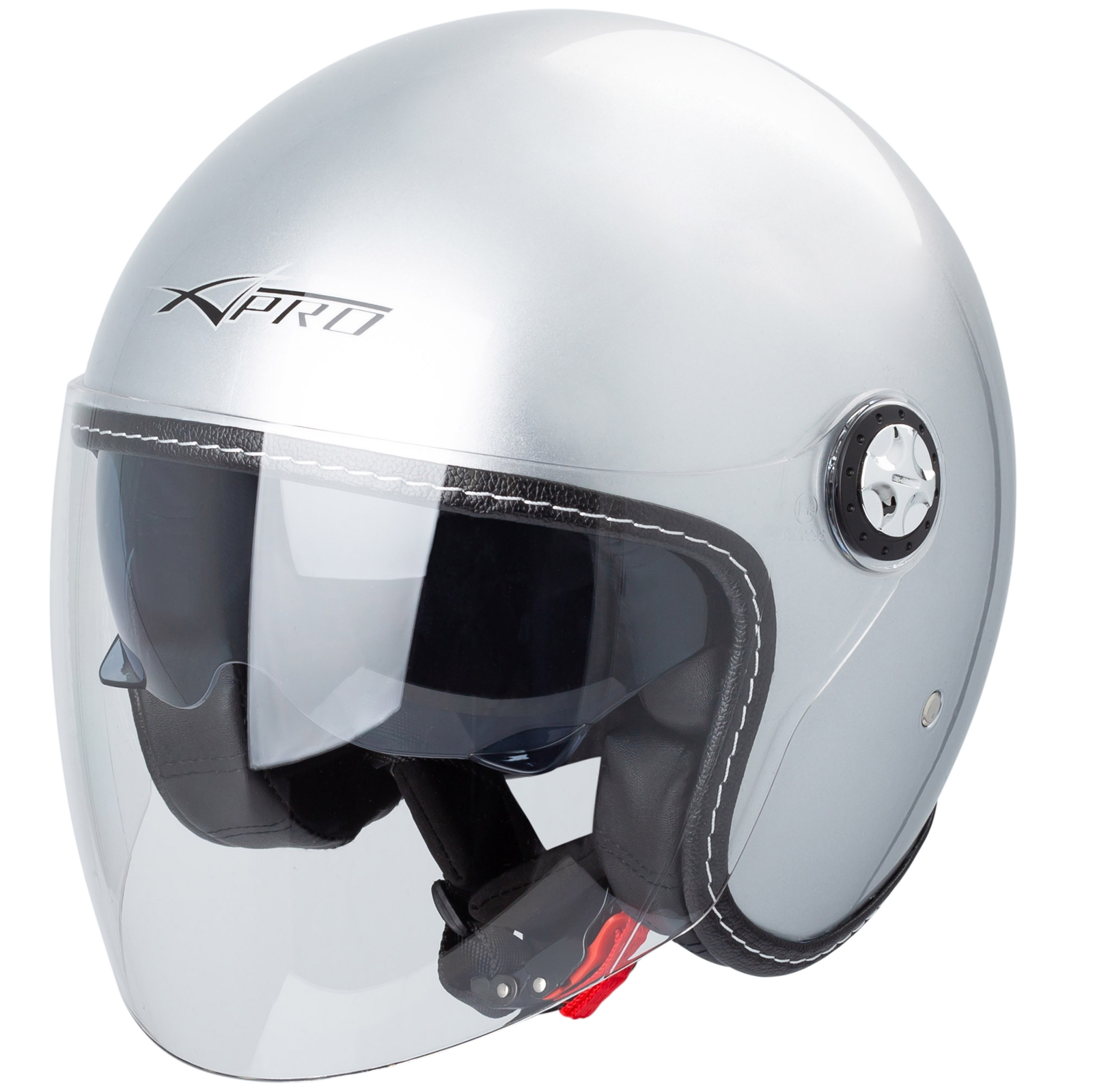 Casco Flip Up doppia visiera per moto L argento GOTOTOP