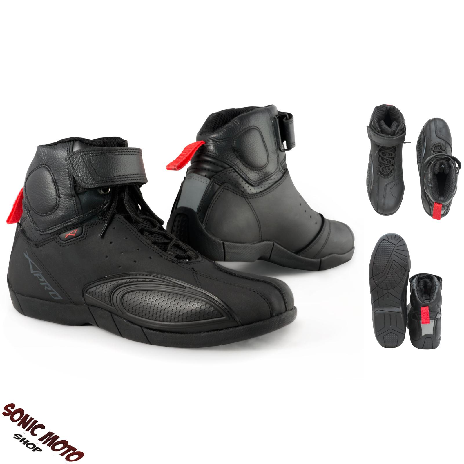 Motorcycle Boots Sports Motorbike Shoes Sport Leather Black A-Pro | EBay