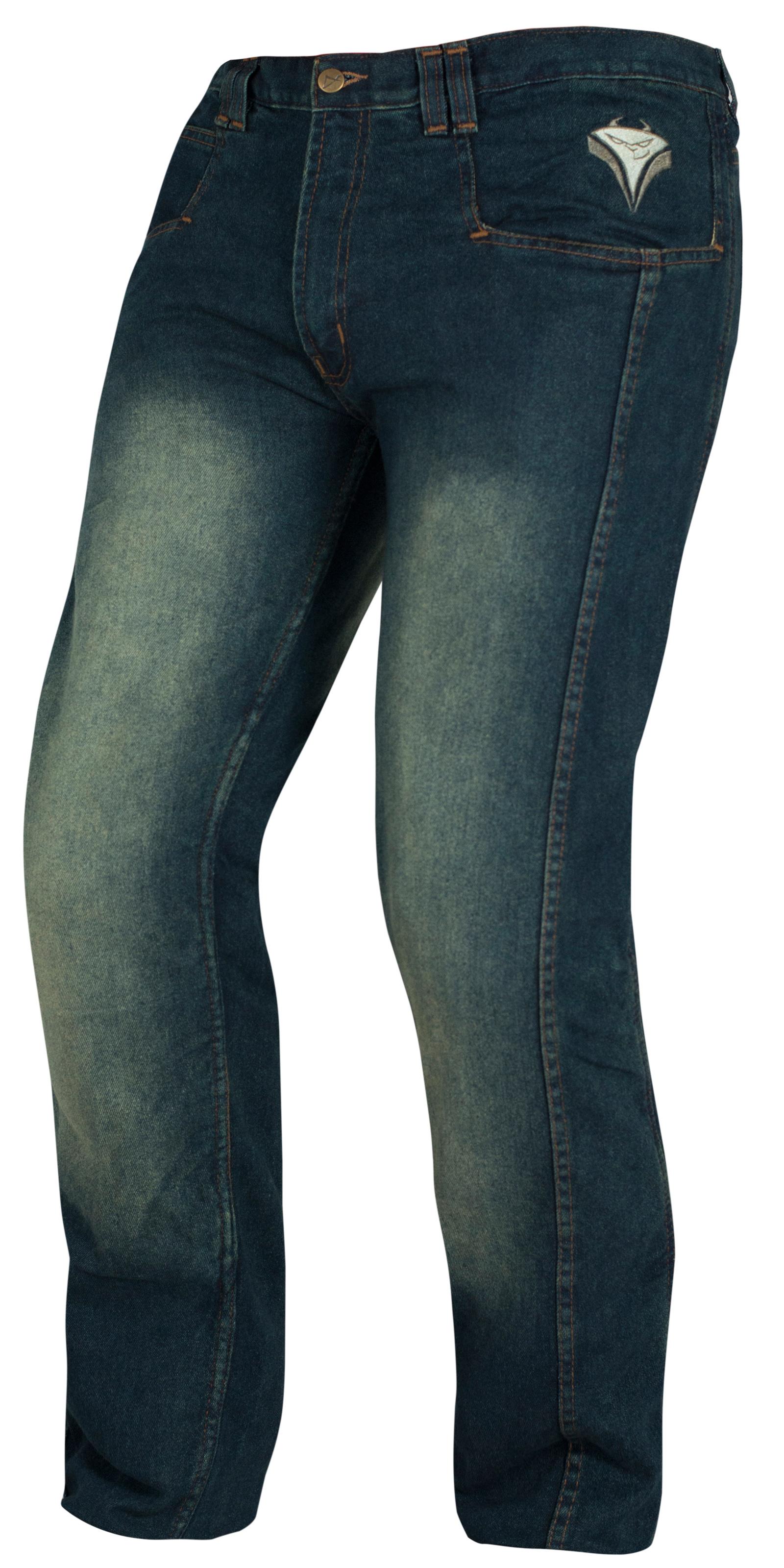 Pantalon-Jeans-Denim-Renforts-Protections-CE-Coton-100-Homme-Sport-Bleu miniature 6