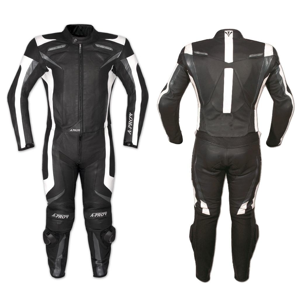 6d2e9b20e01 Detalles de Mono Traje Piel de la Moto Racing Sport 2 Piezas Divisible  tomas de aire Negro