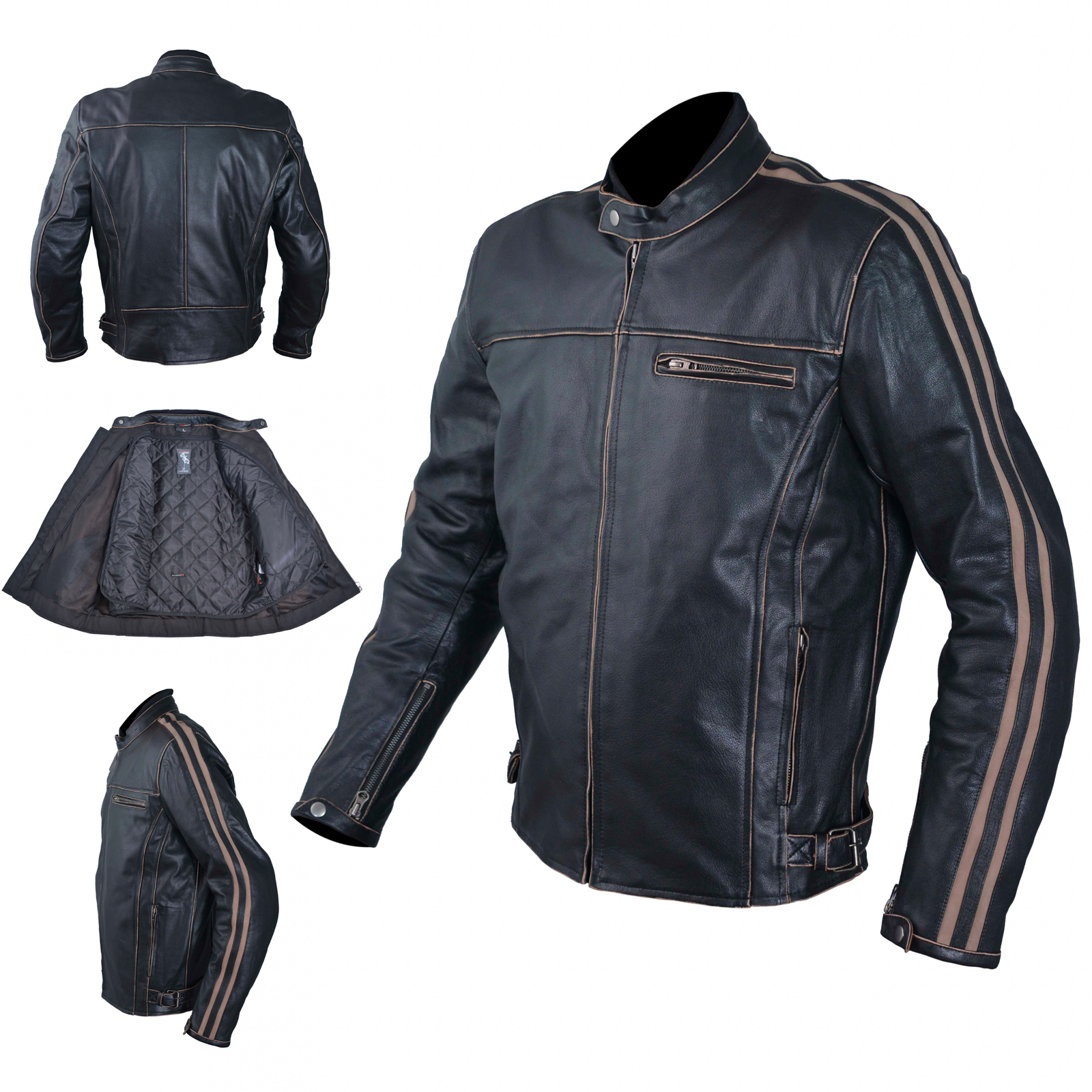 cuir blouson moto veste vintage style thermique. Black Bedroom Furniture Sets. Home Design Ideas
