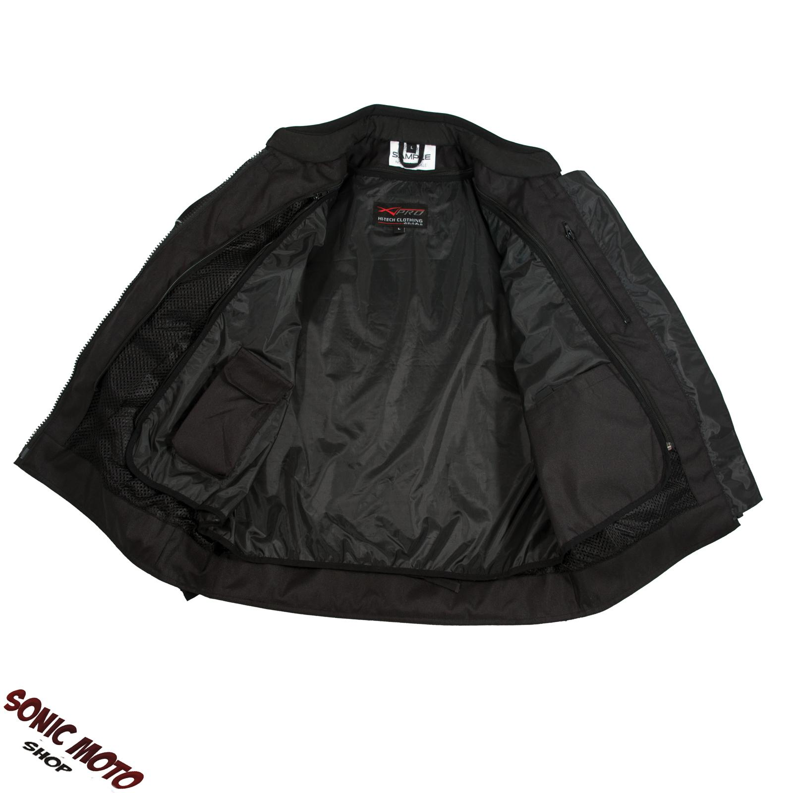Giacca-Moto-Sport-Tessuto-Protezioni-CE-Impermeabile-Ventilata-Nero