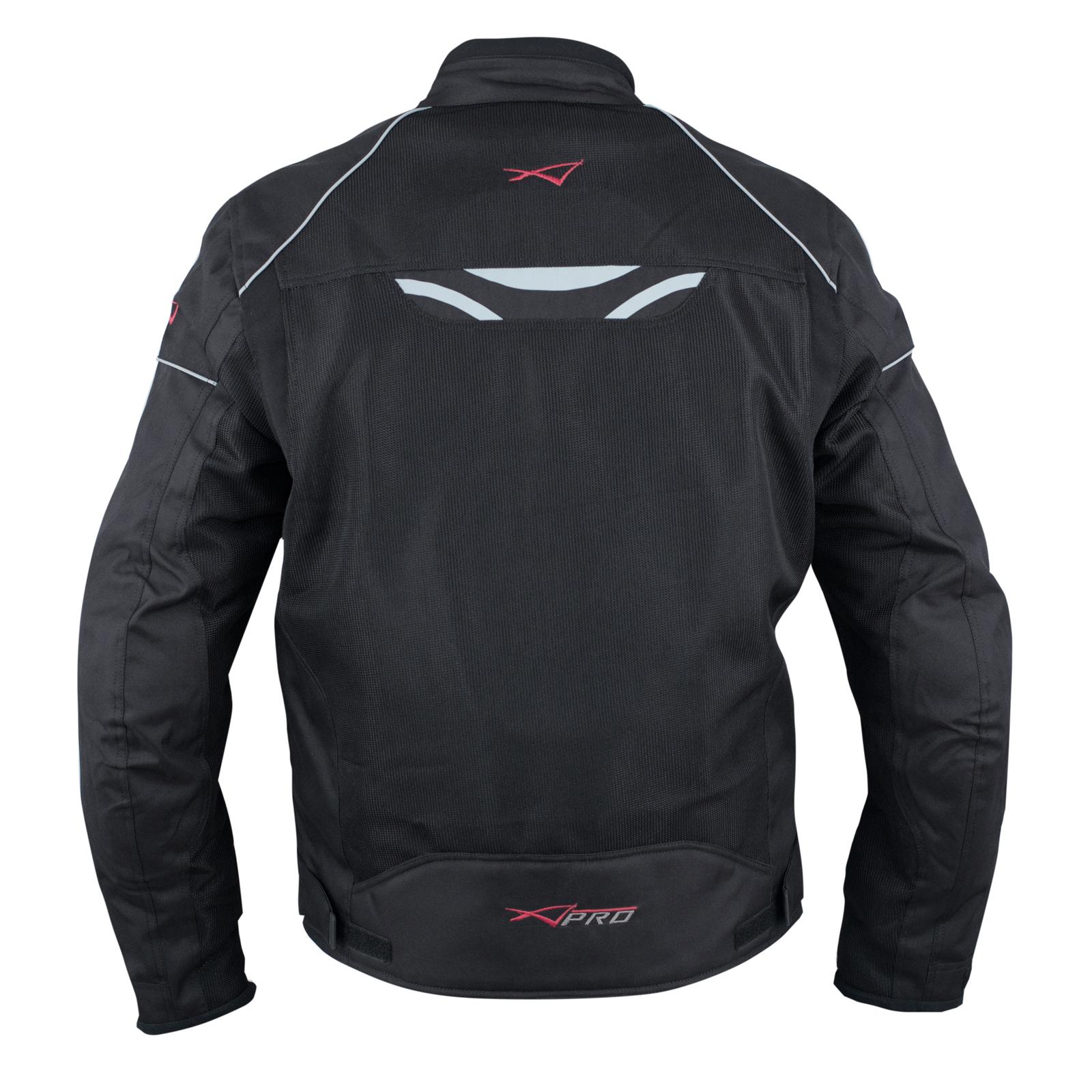 Giacca-Moto-Sport-Tessuto-Protezioni-CE-Impermeabile-Ventilata-Nero miniature 8