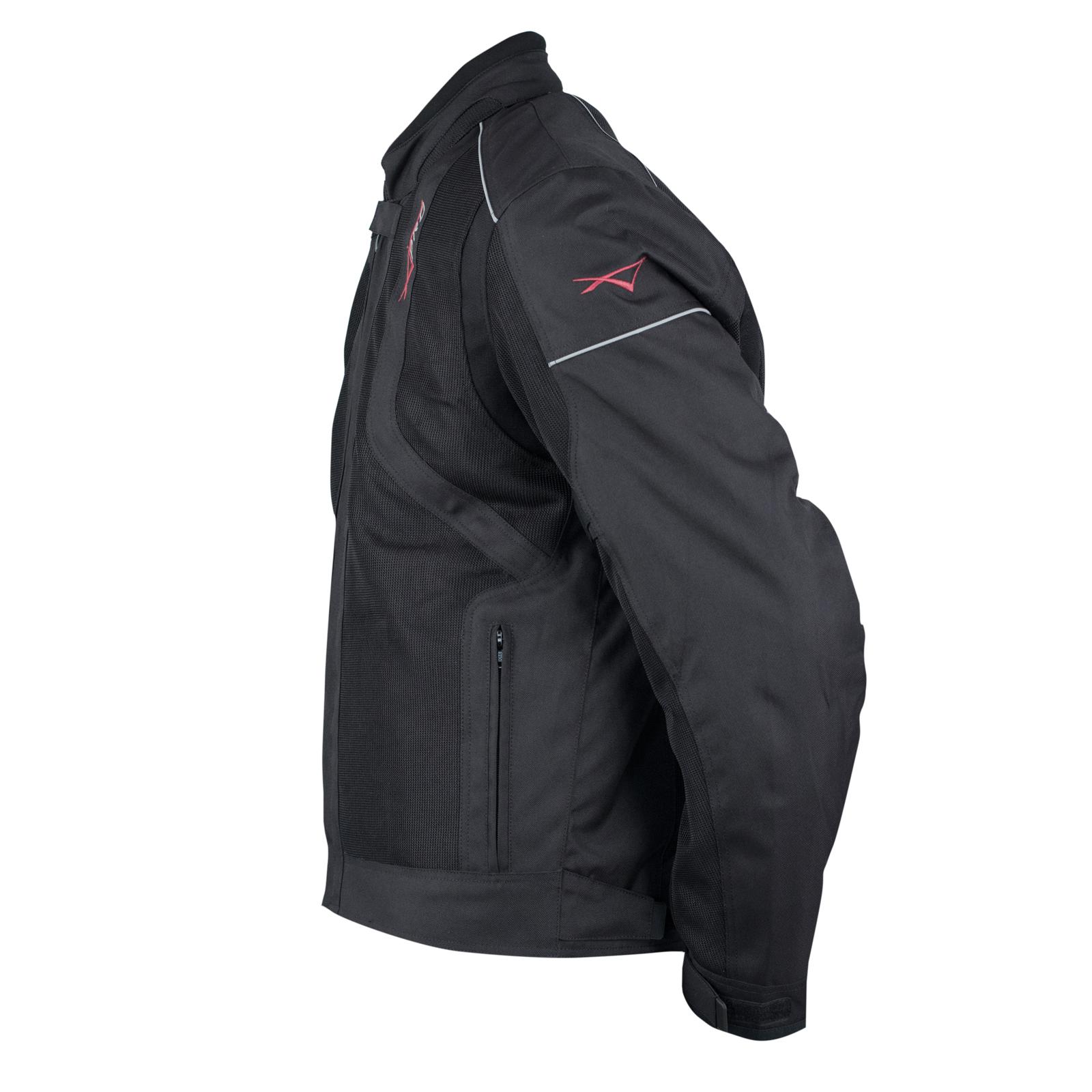 Giacca-Moto-Sport-Tessuto-Protezioni-CE-Impermeabile-Ventilata-Nero miniature 6
