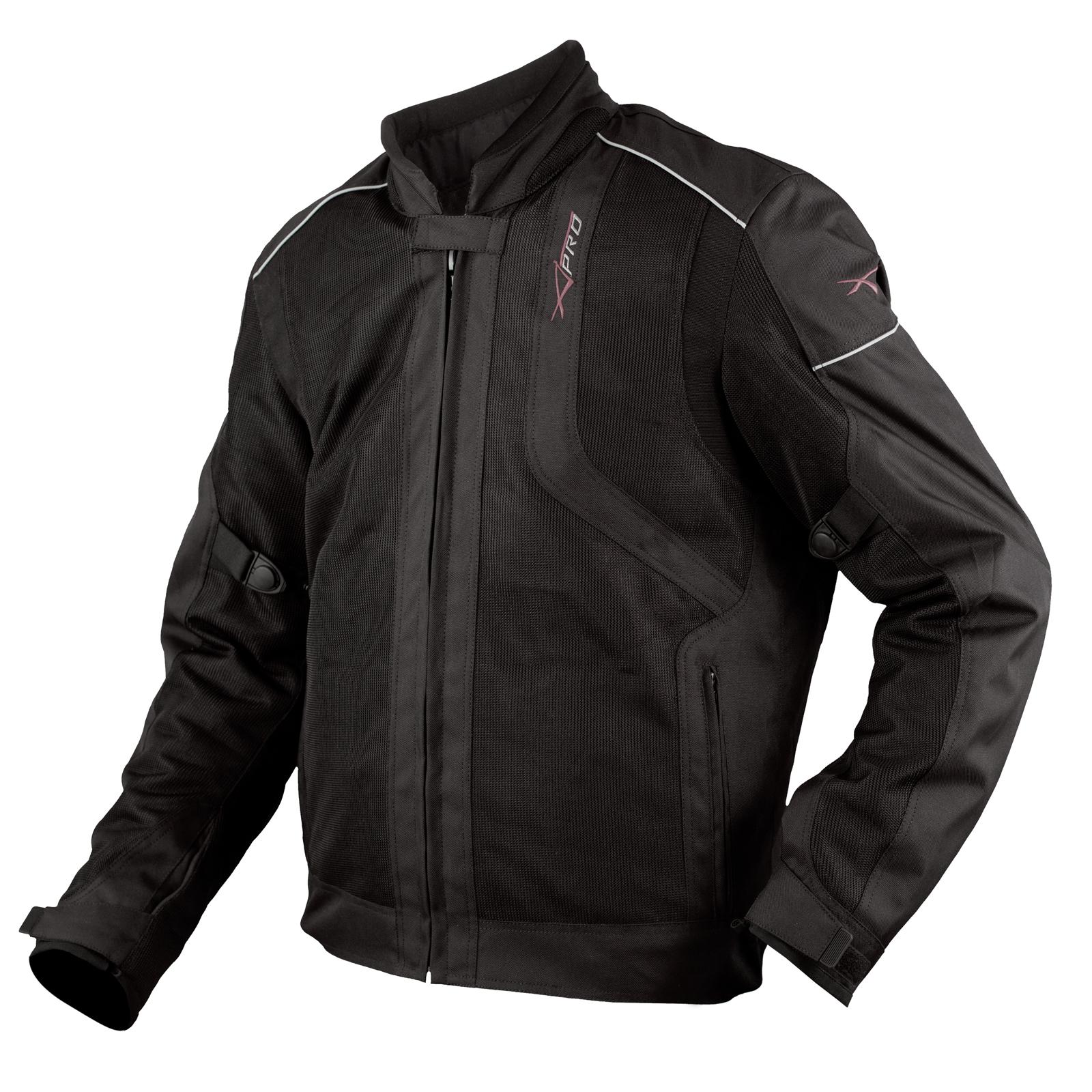 Giacca-Moto-Sport-Tessuto-Protezioni-CE-Impermeabile-Ventilata-Nero miniature 5