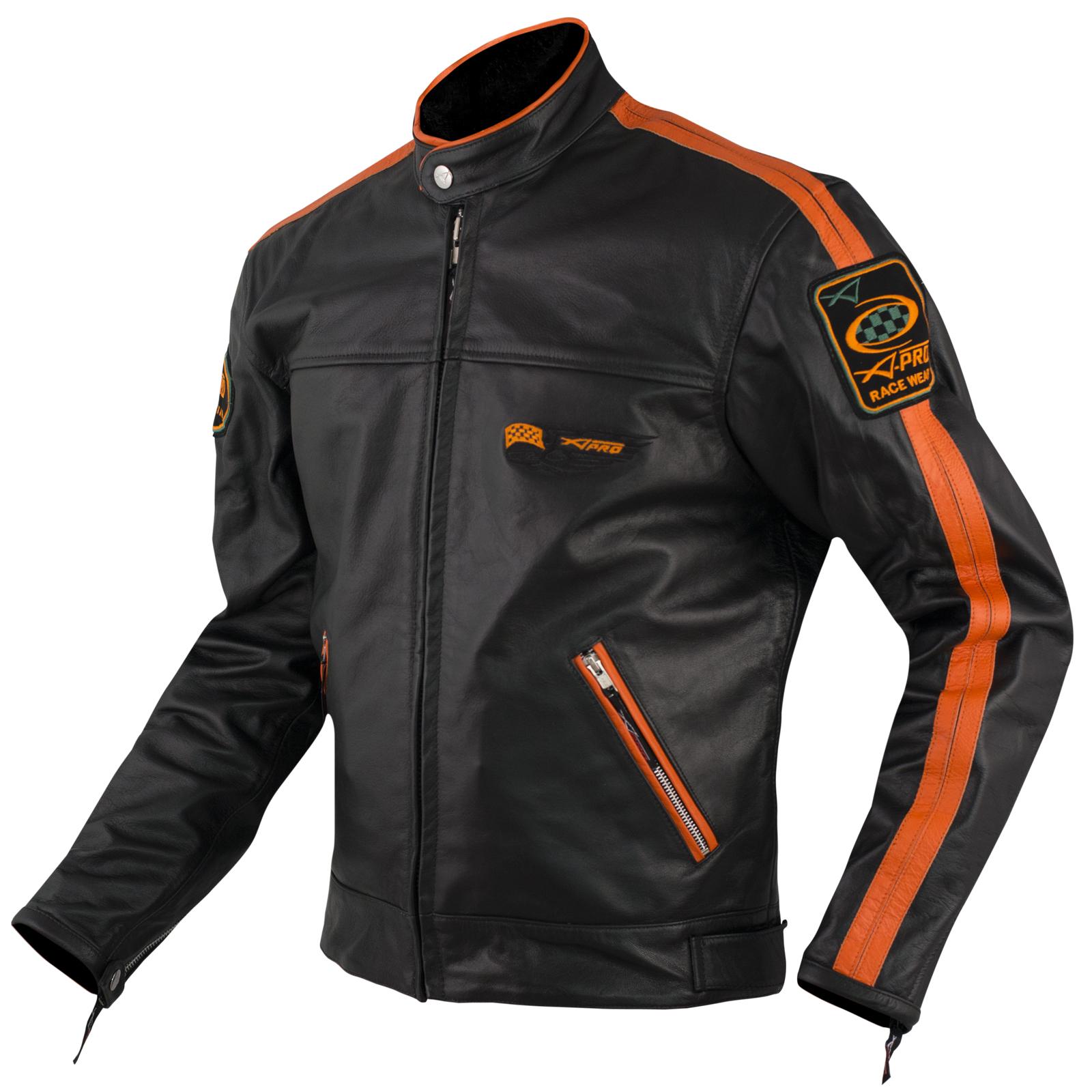 purchase cheap b7d2f 80ba6 Dettagli su Giacca Pelle Moto Custom Protezioni Omologate CE Rinforzo  Schiena Arancione