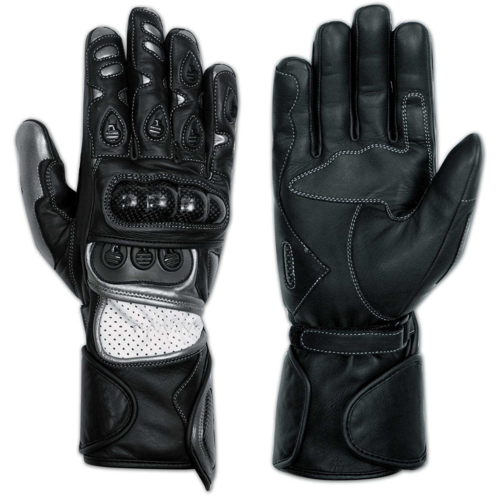 Gants-Accessoires-Vetements-Moto-Motard-Cuir-Resistant-Coque-Carbone-Protection