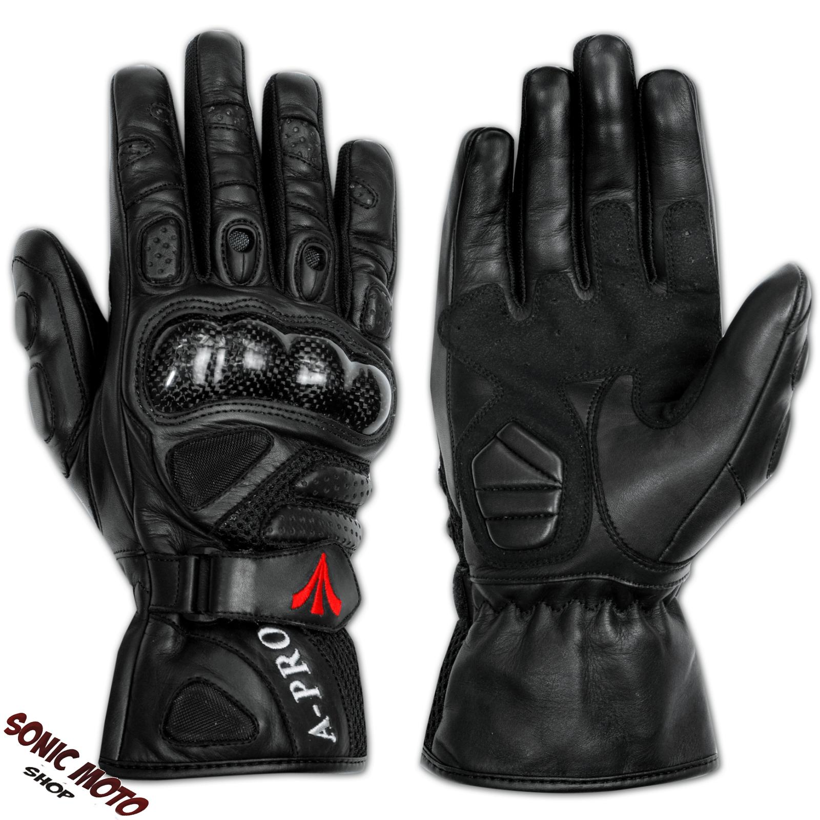 gants motard moto scooter napa cuir coque protections fibre route piste a pro. Black Bedroom Furniture Sets. Home Design Ideas