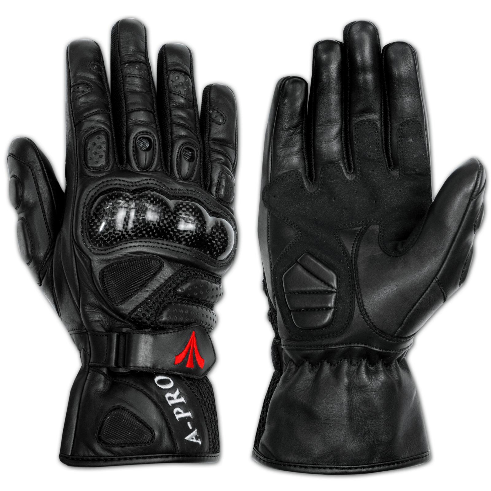 Guanto-Pelle-Moto-Protezioni-Carbonio-Prese-Aria-Imbottito-Traspirante-A-Pro