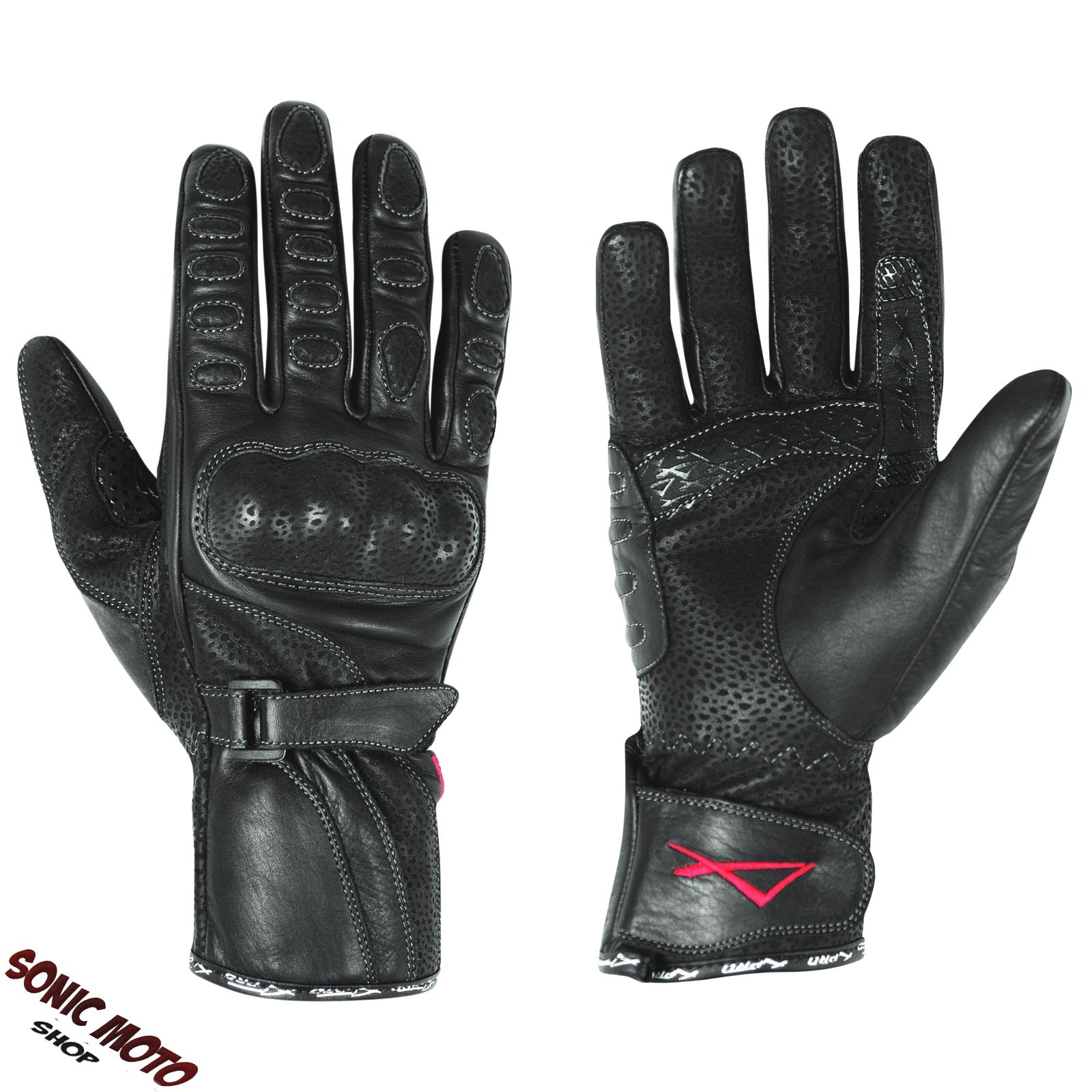gants longs femme cuir protections coques moto motard renforc s sonic moto ebay. Black Bedroom Furniture Sets. Home Design Ideas