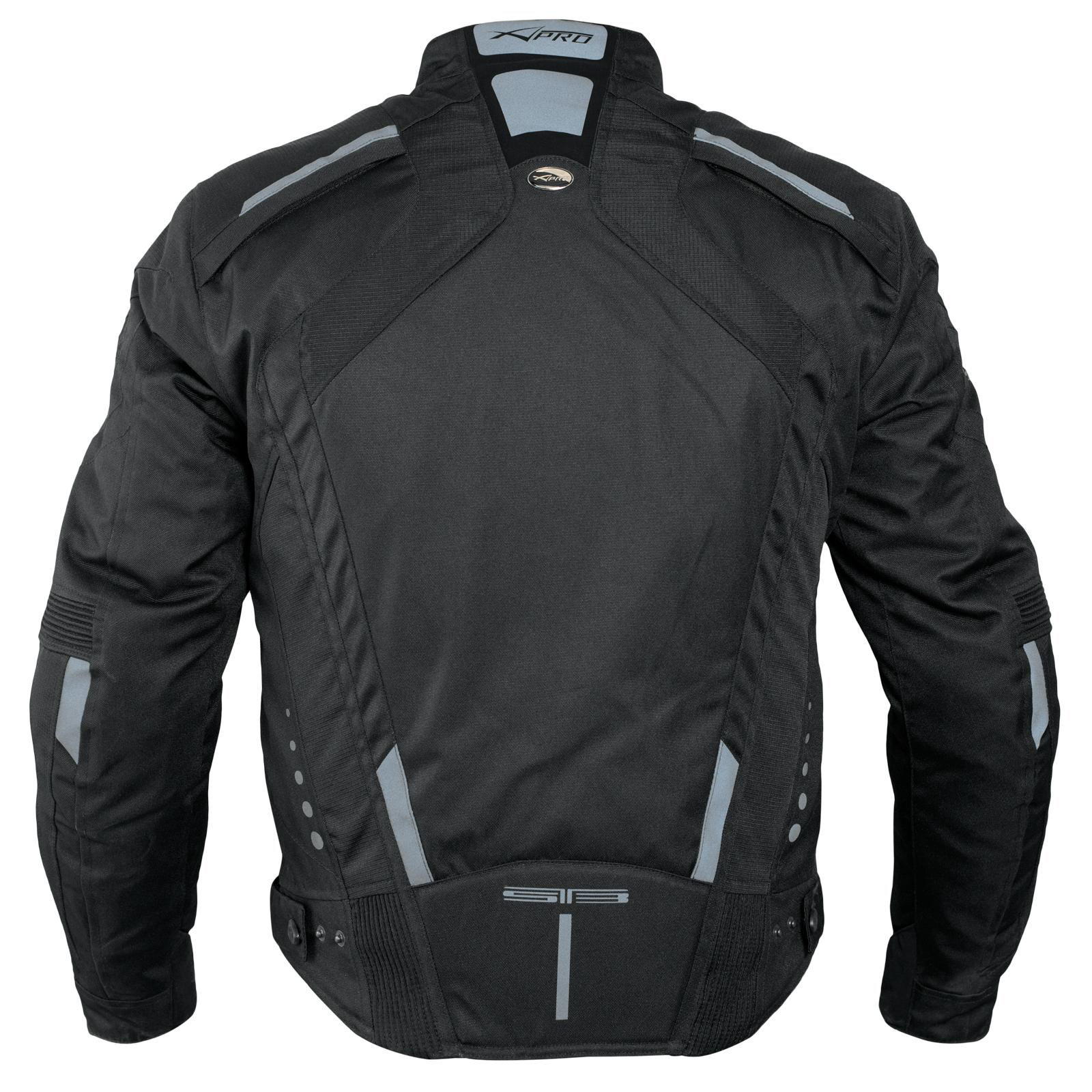 miniatuur 8 - Giacca-Cordura-Moto-Tessuto-Impermeabile-Sport-Termica-Sfoderabile-Nero