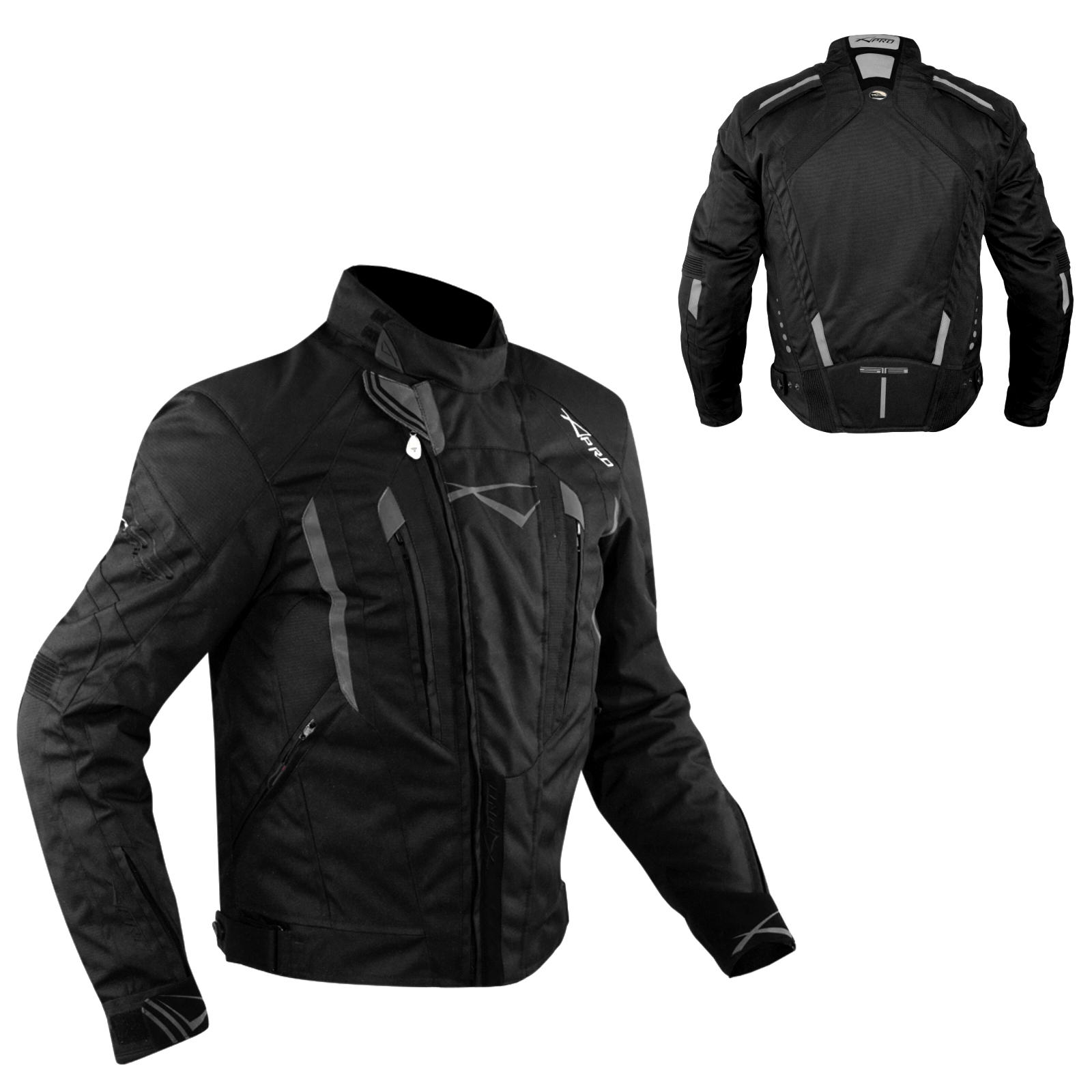 miniatuur 6 - Giacca-Cordura-Moto-Tessuto-Impermeabile-Sport-Termica-Sfoderabile-Nero