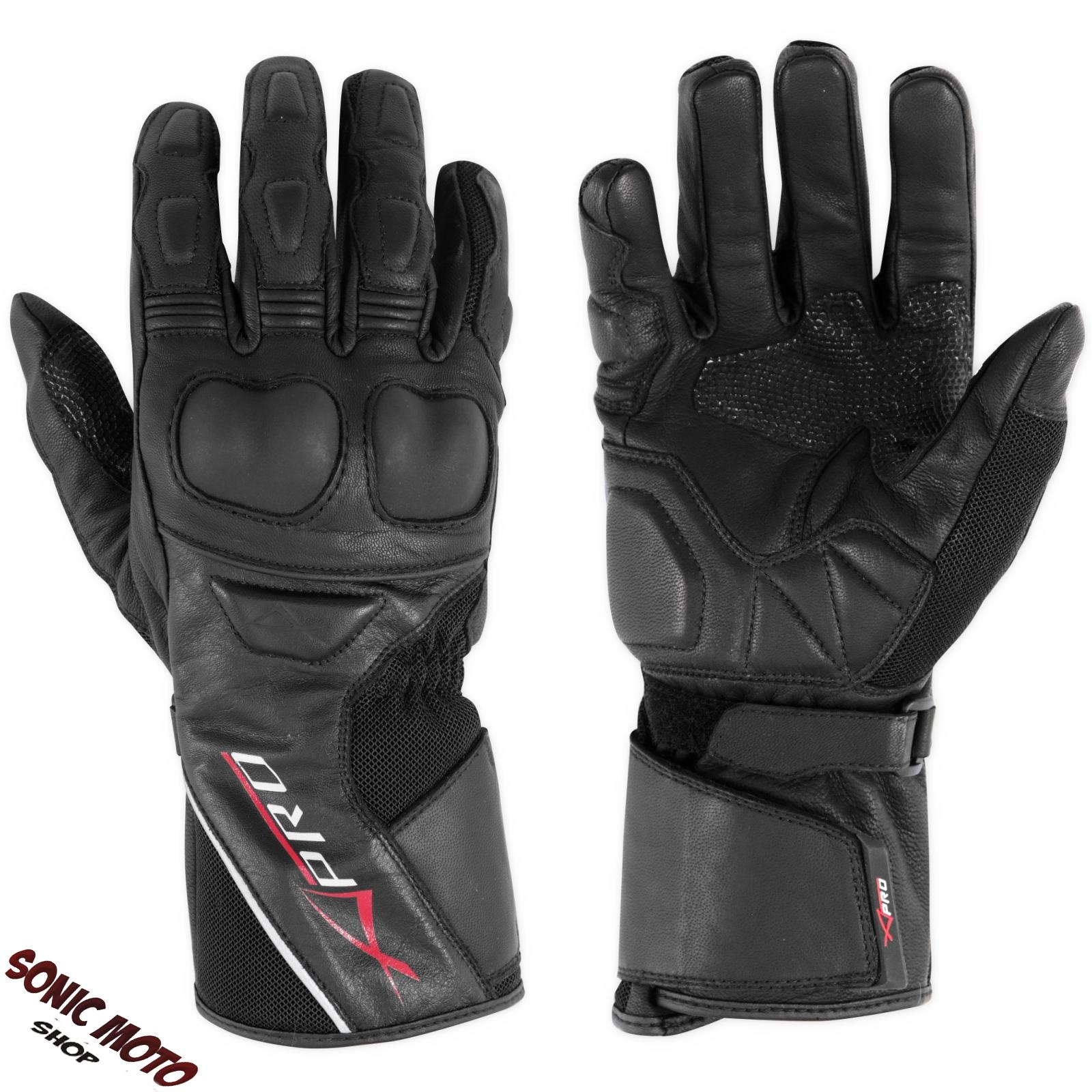 Moto-Guantes-Piel-Protectores-Nudillos-Maxi-Scooter-Sport-Touring