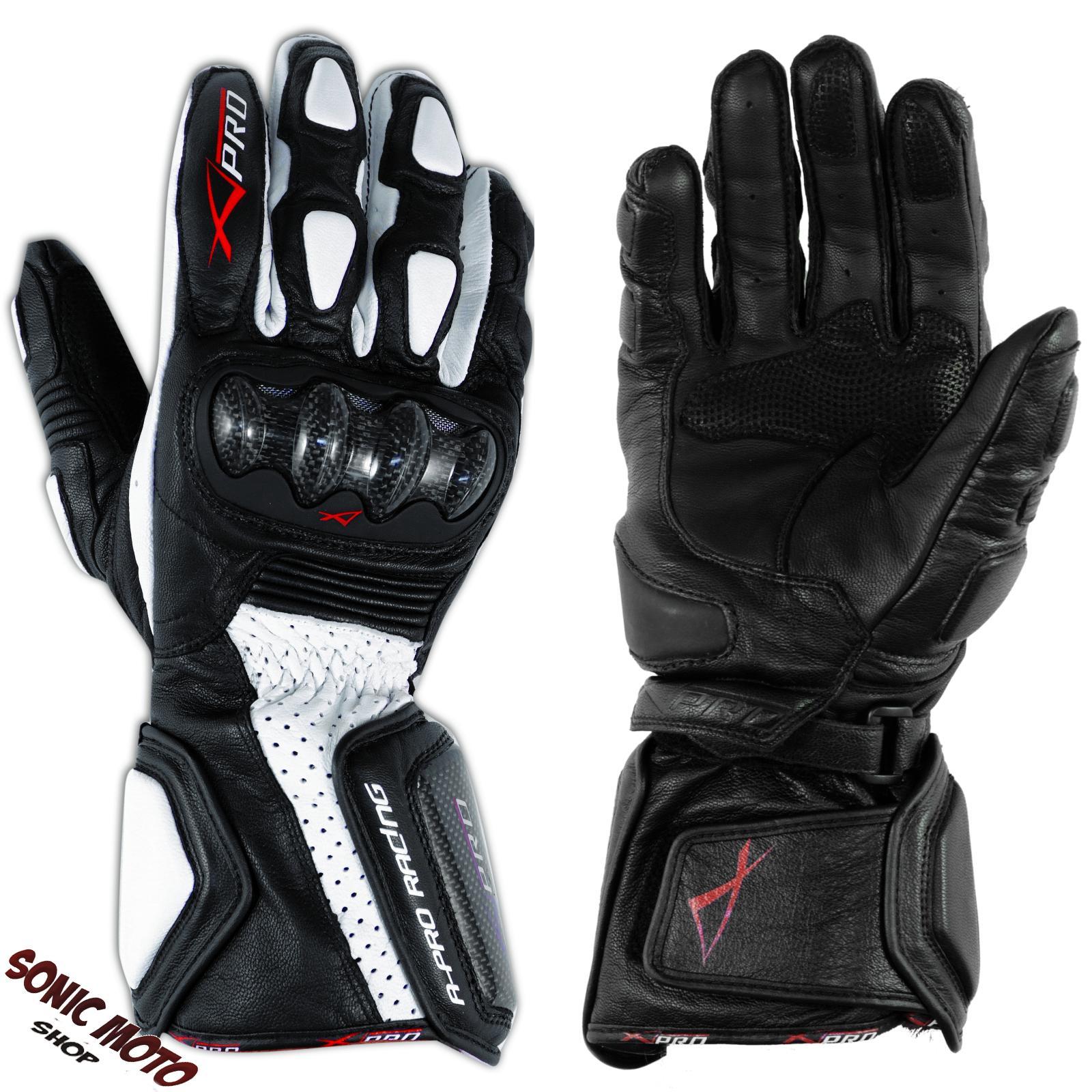 Guanto-Sport-Pista-Moto-Tecnico-Protezioni-Carbonio-Professionale-Pelle-Bianco