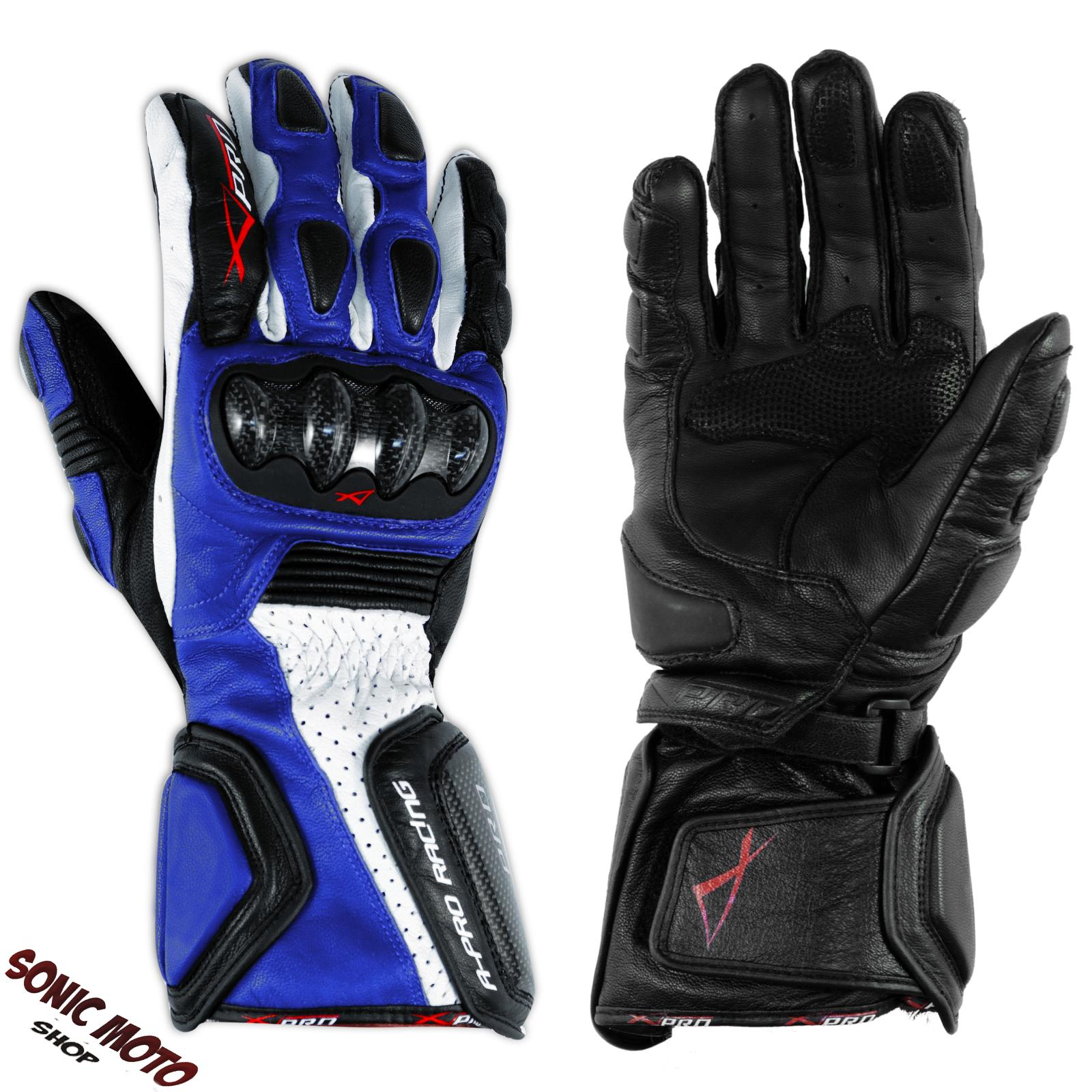 paire cuir gants profesional motard piste route moto protections carbone touring ebay. Black Bedroom Furniture Sets. Home Design Ideas