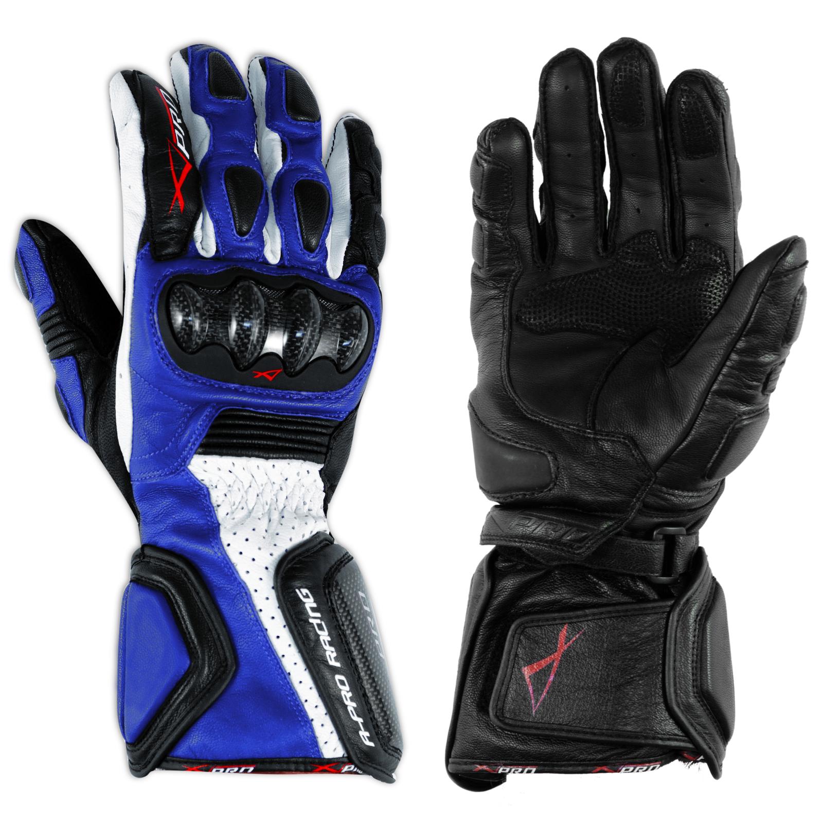 Guanto-Sportivo-Pista-Moto-Tecnico-Protezioni-Carbonio-Professionale-Pelle