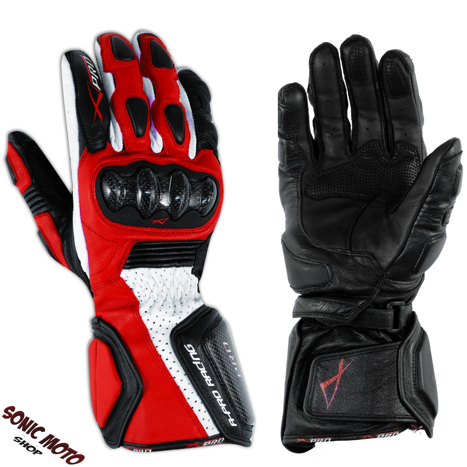 Motorcycle Biker Racing Sports Leather Riding Gloves Protection Knuckles Red
