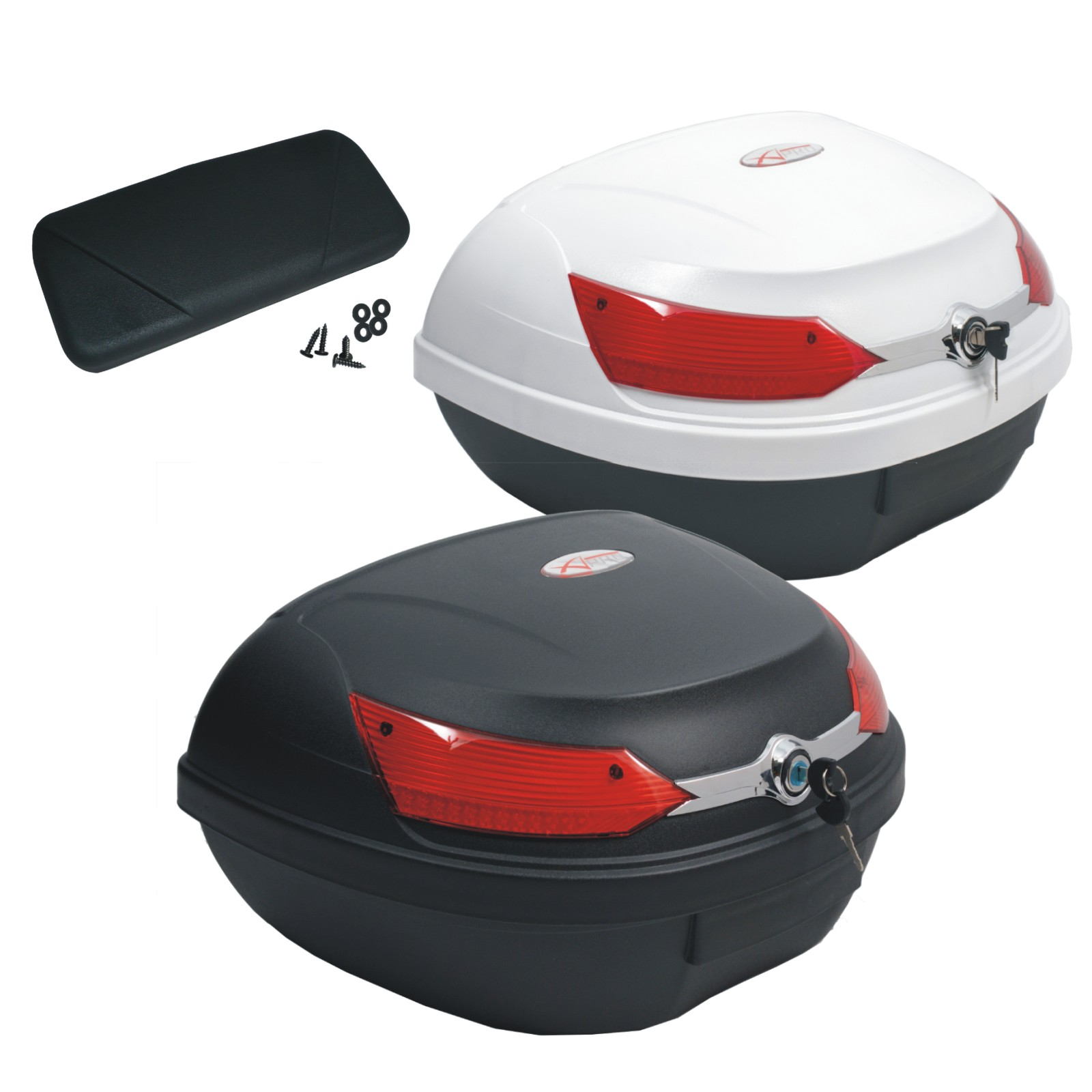 A-Pro malet/ín para Moto Quad Blanco Top Case Universal 46 litros