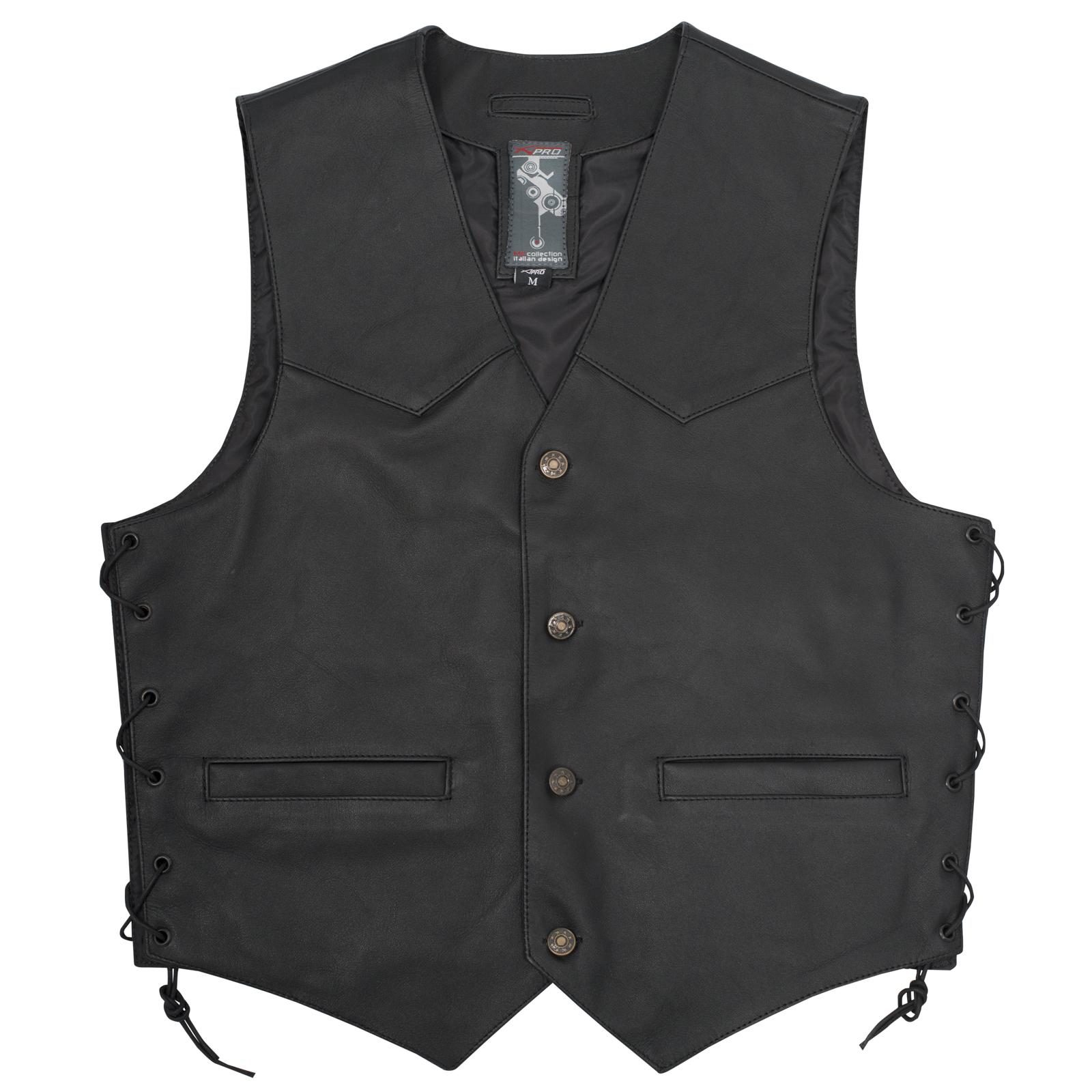 gilet cuir moto motard chopper custom boutons lacets fashion noir m ebay. Black Bedroom Furniture Sets. Home Design Ideas